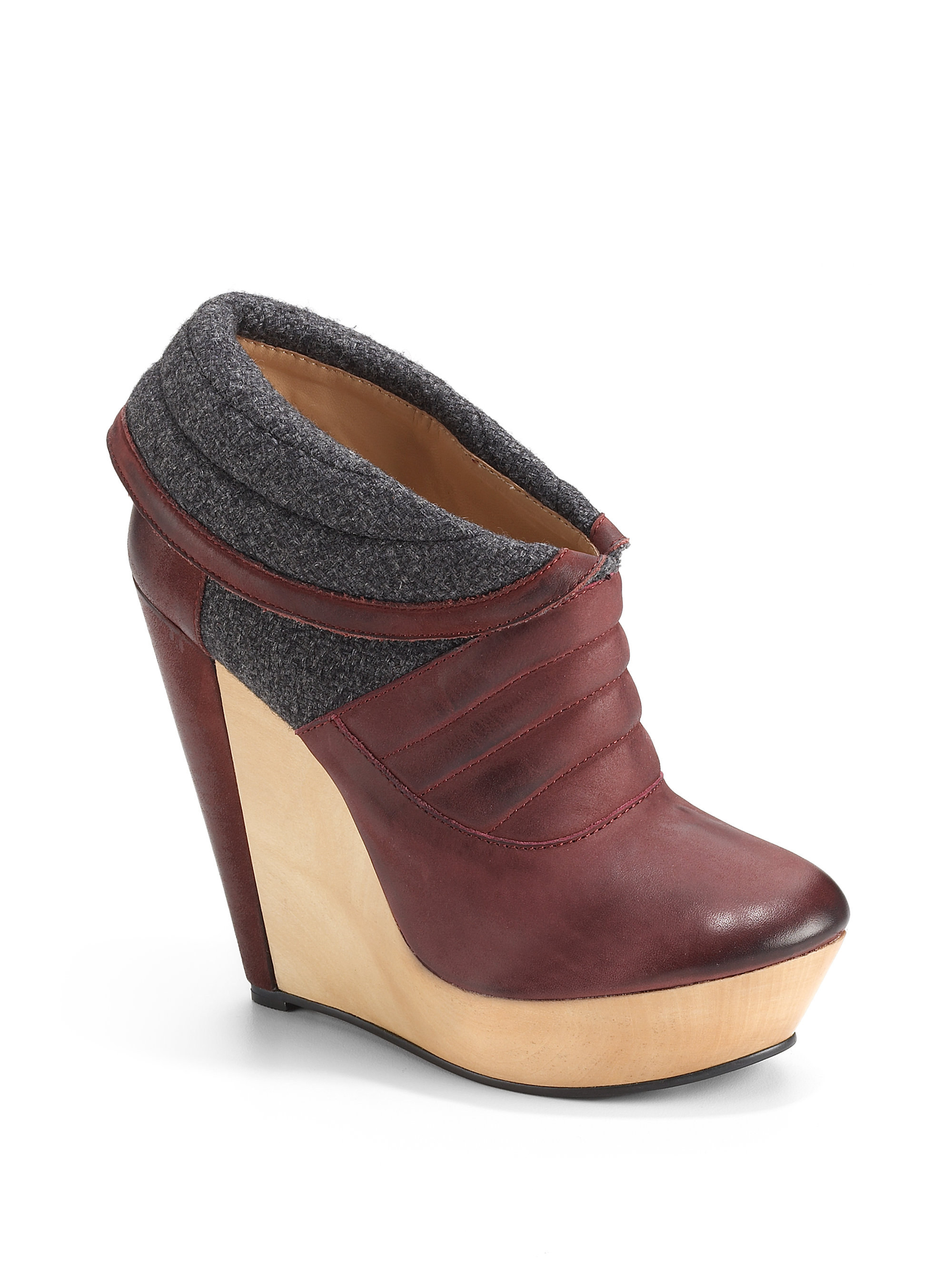 messeca charmene leather flannel wedge ankle bootswine in