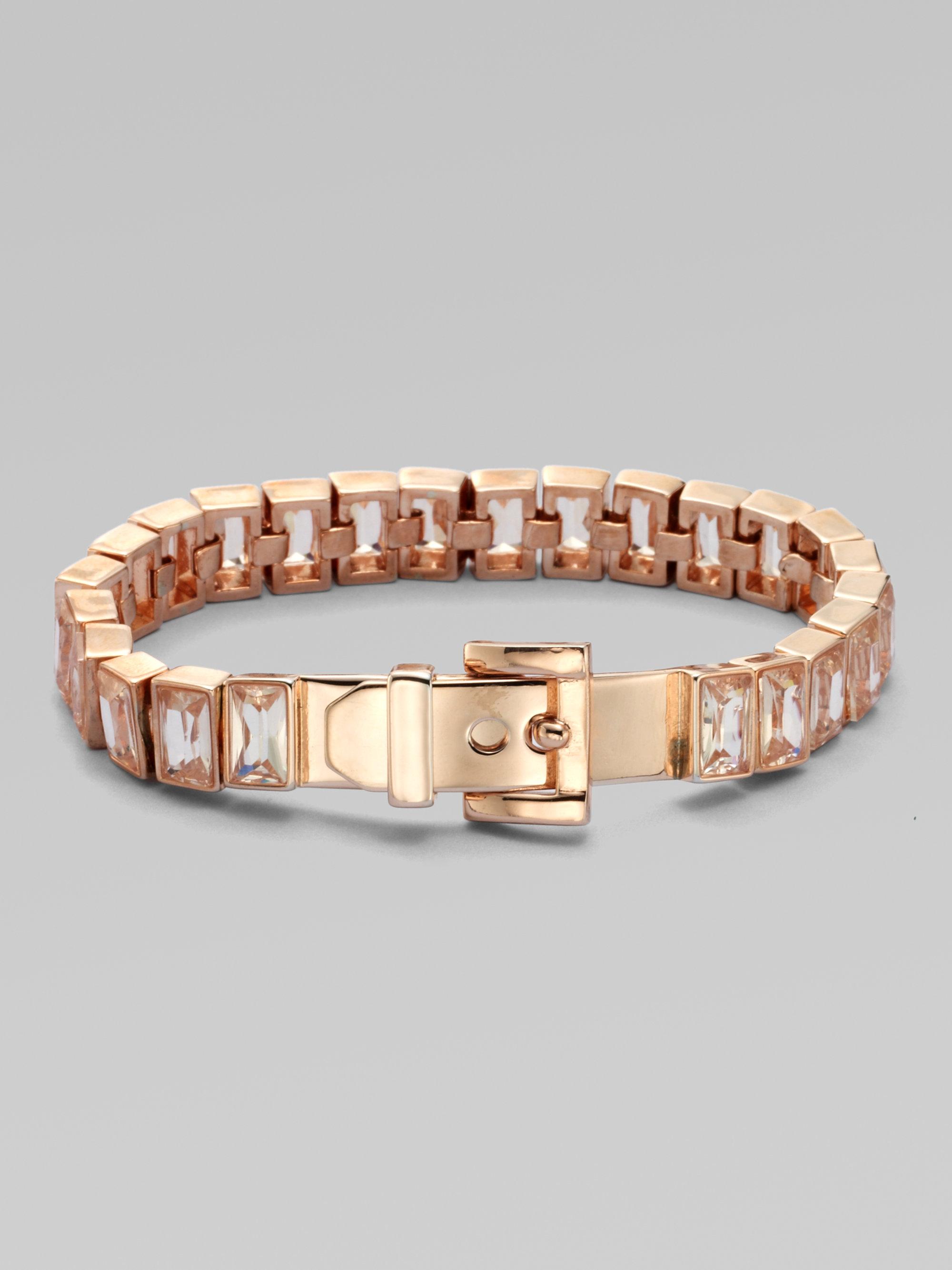 michael kors baguette stone tennis bracelet rose gold tone. Black Bedroom Furniture Sets. Home Design Ideas