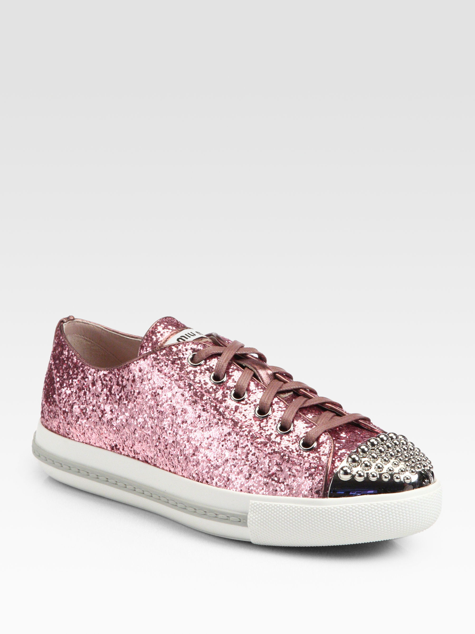 miu miu studded glitter laceup sneakers in pink lyst. Black Bedroom Furniture Sets. Home Design Ideas