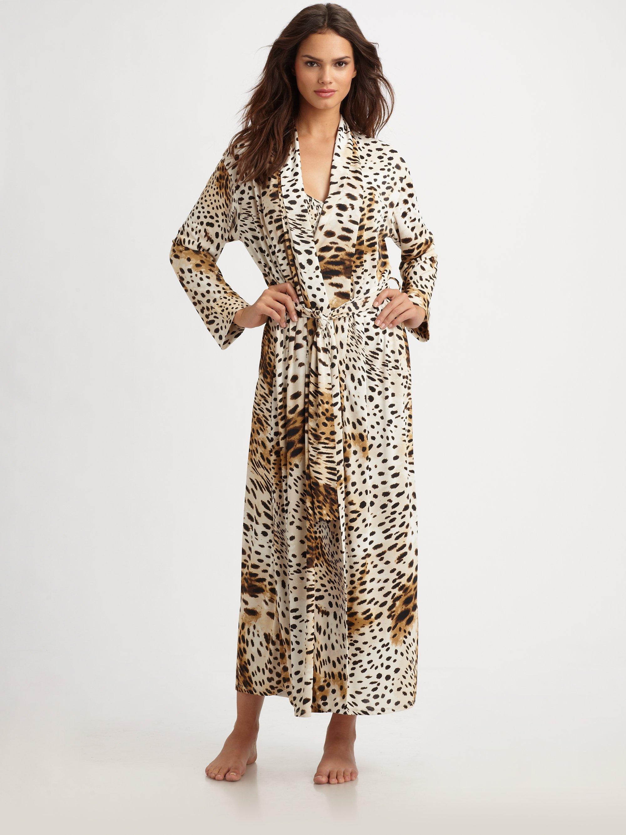 Lyst - Natori Gabon Leopard-print Jersey Robe 45c56e532