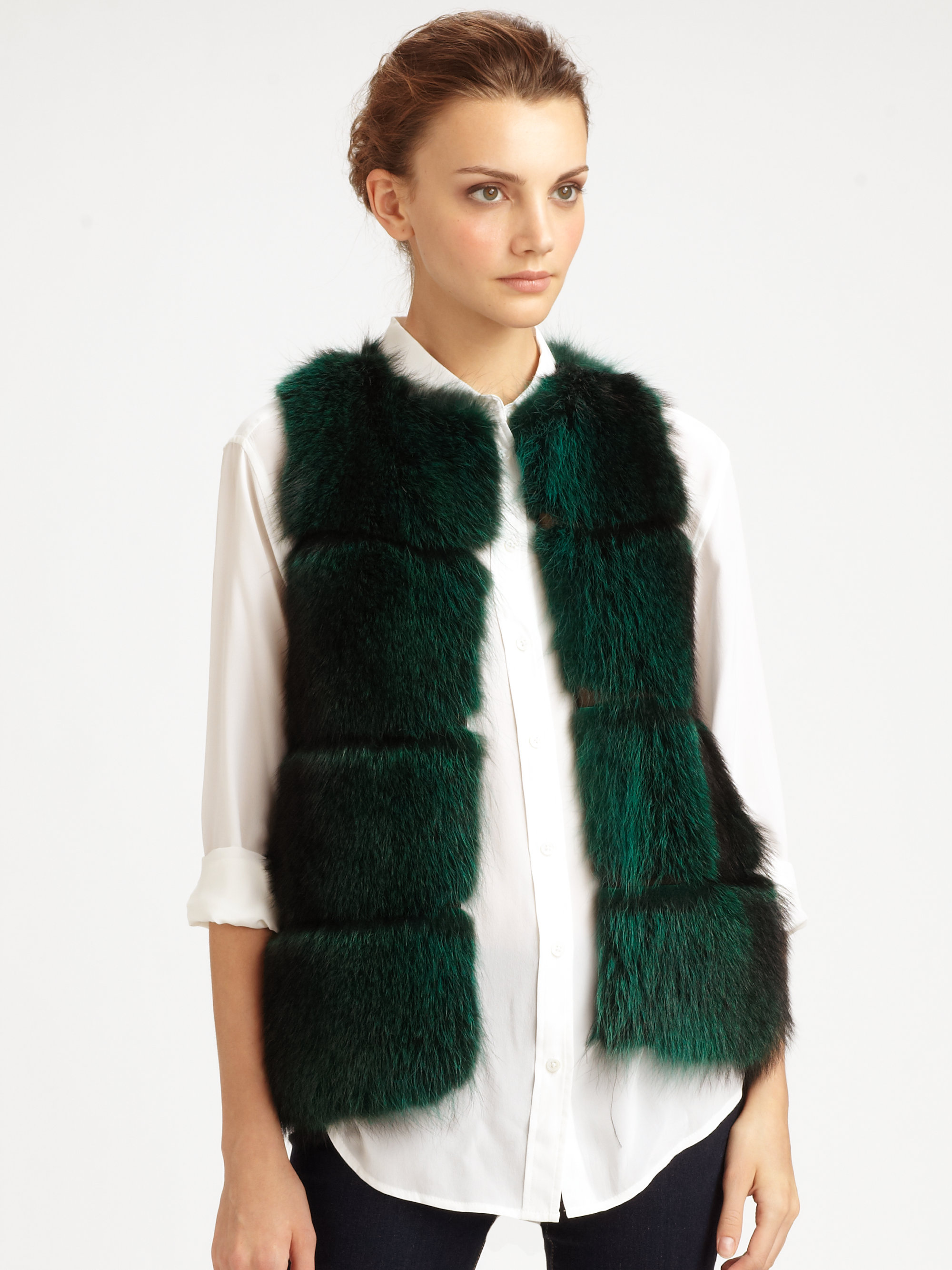 Green Fur Vest - Faux fur vest with hook and eye closure down the front. Deep emerald green. NWT. #NWT #jessicasimpson #faux #fauxfur #fur #green #furvest #fauxfurvest #greenvest #greenfur #plussize #macys #plussizefashion.