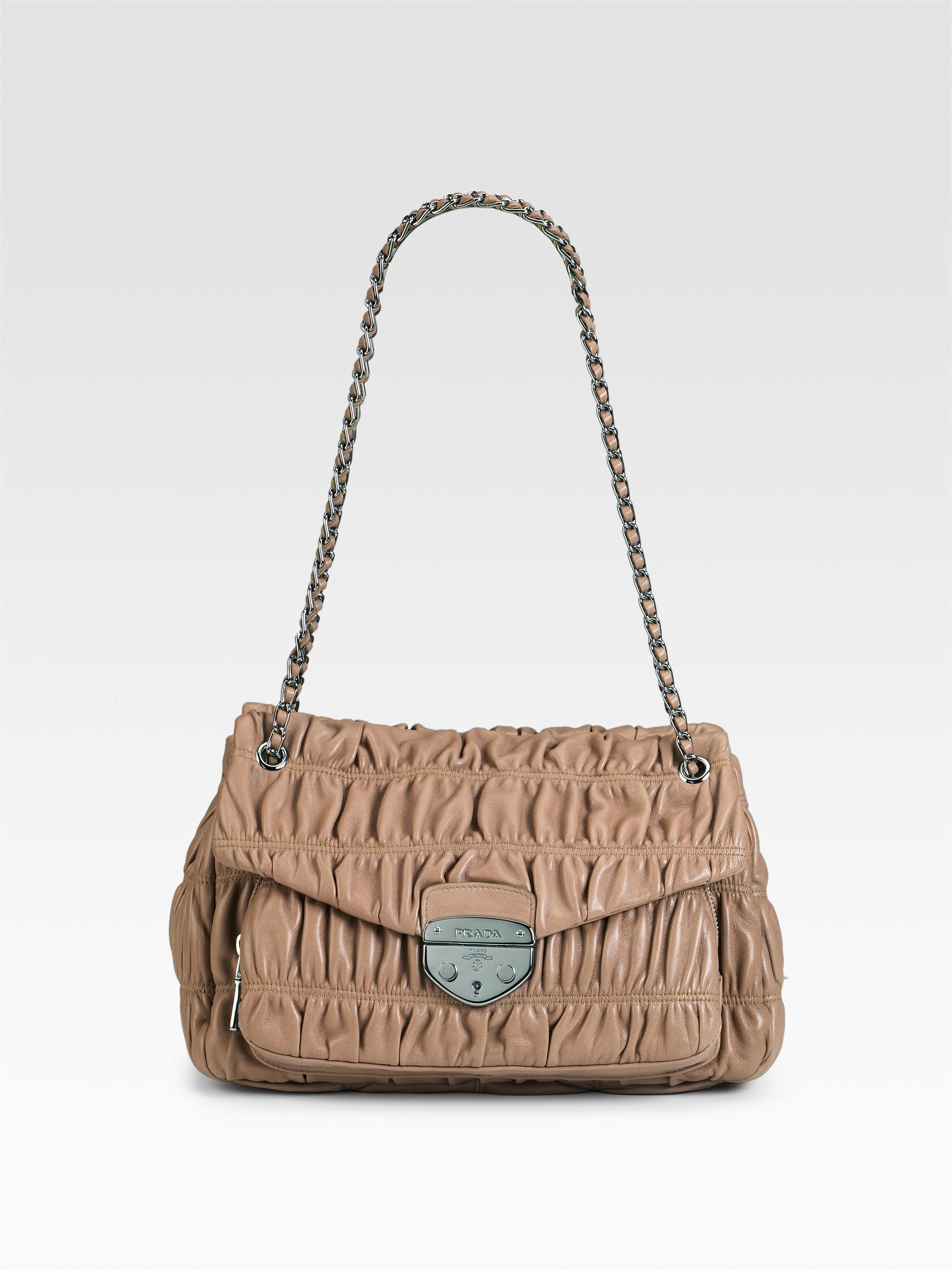 Prada Nappa Gaufre Shoulder Bag in Beige (black) | Lyst