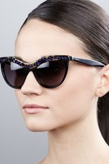Prada Purple Crystalencrusted Cateye Sunglasses Havanablack - Lyst
