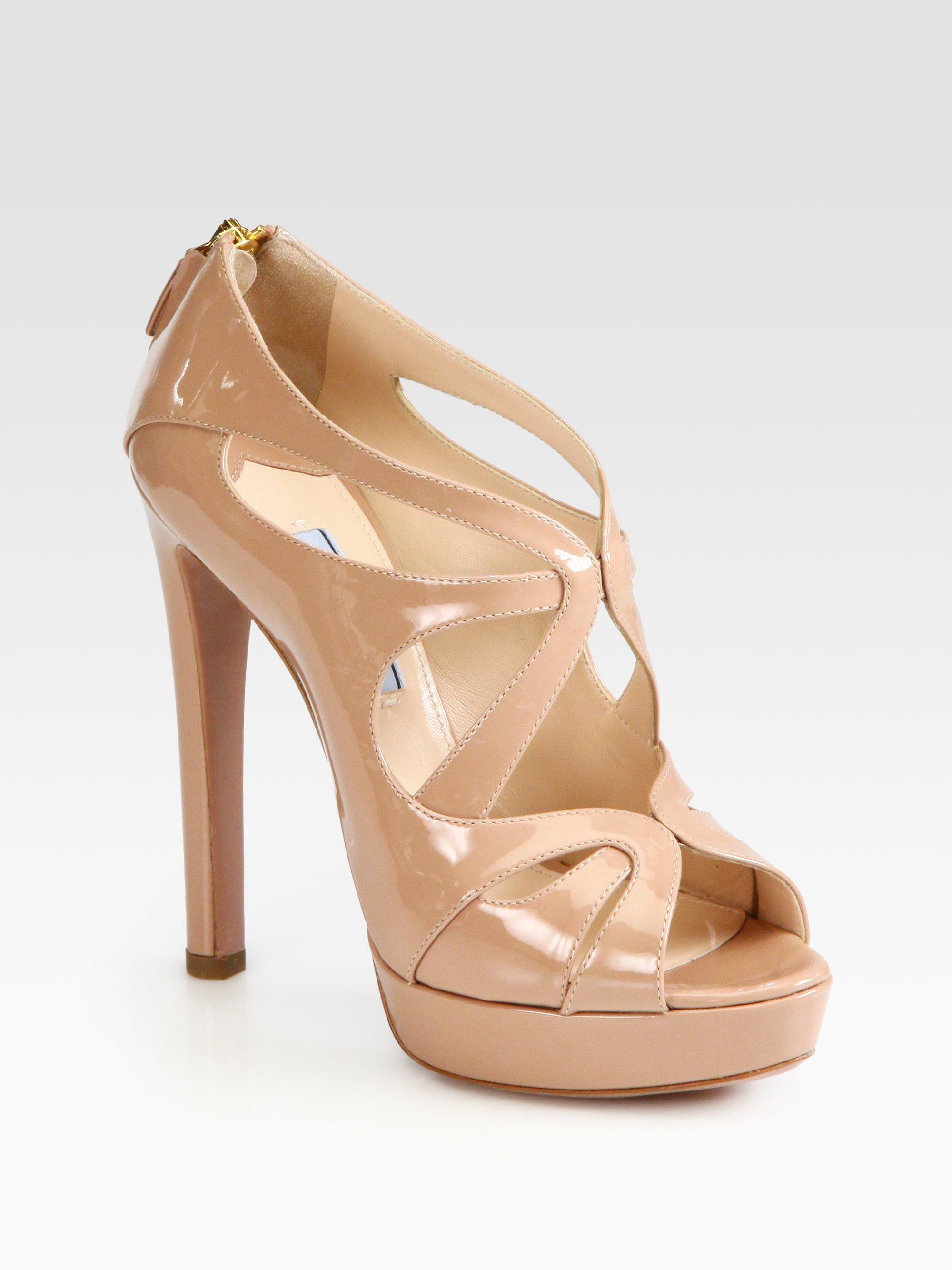 21caa72ddf180 Lyst - Prada Patent Leather Strappy Platform Sandals in Natural