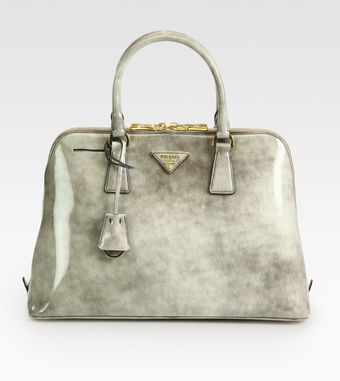 Prada Spazzolato Brushed Leather Double Handle Satchel - Lyst