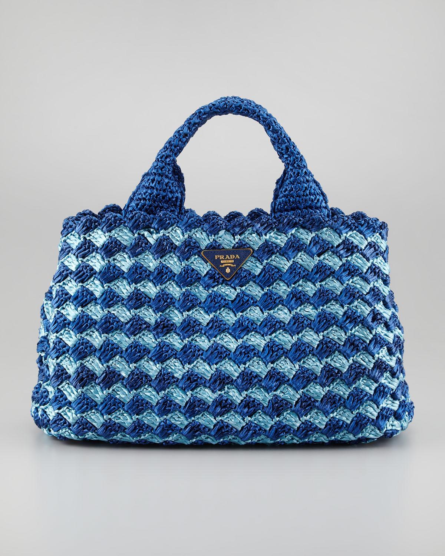 Prada Bicolor Crocheted Raffia Medium Tote Bag in Blue (turquoise ...