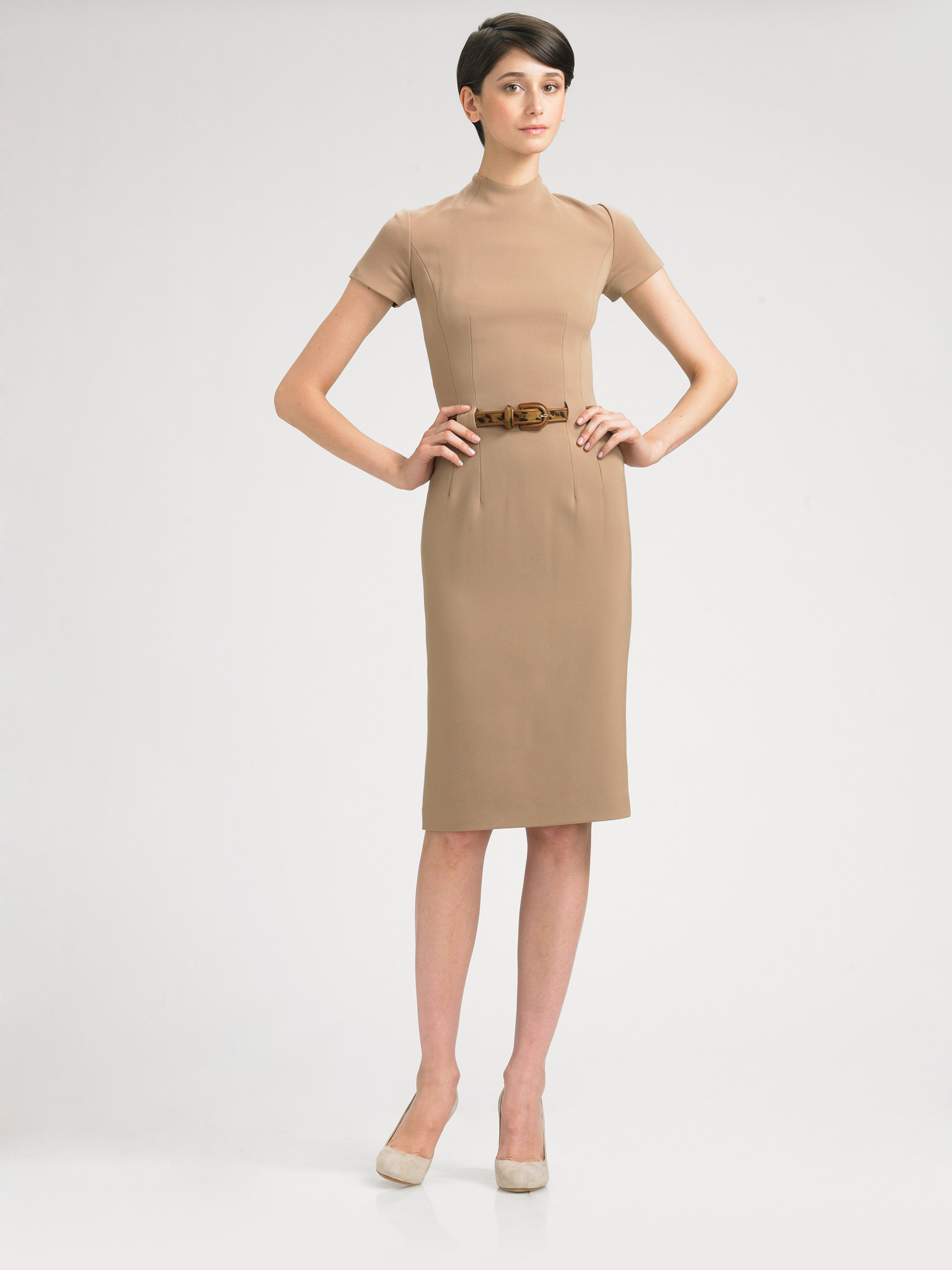 c85d1fbe Ralph Lauren Black Label Belted Mock Turtleneck Dress in Brown - Lyst