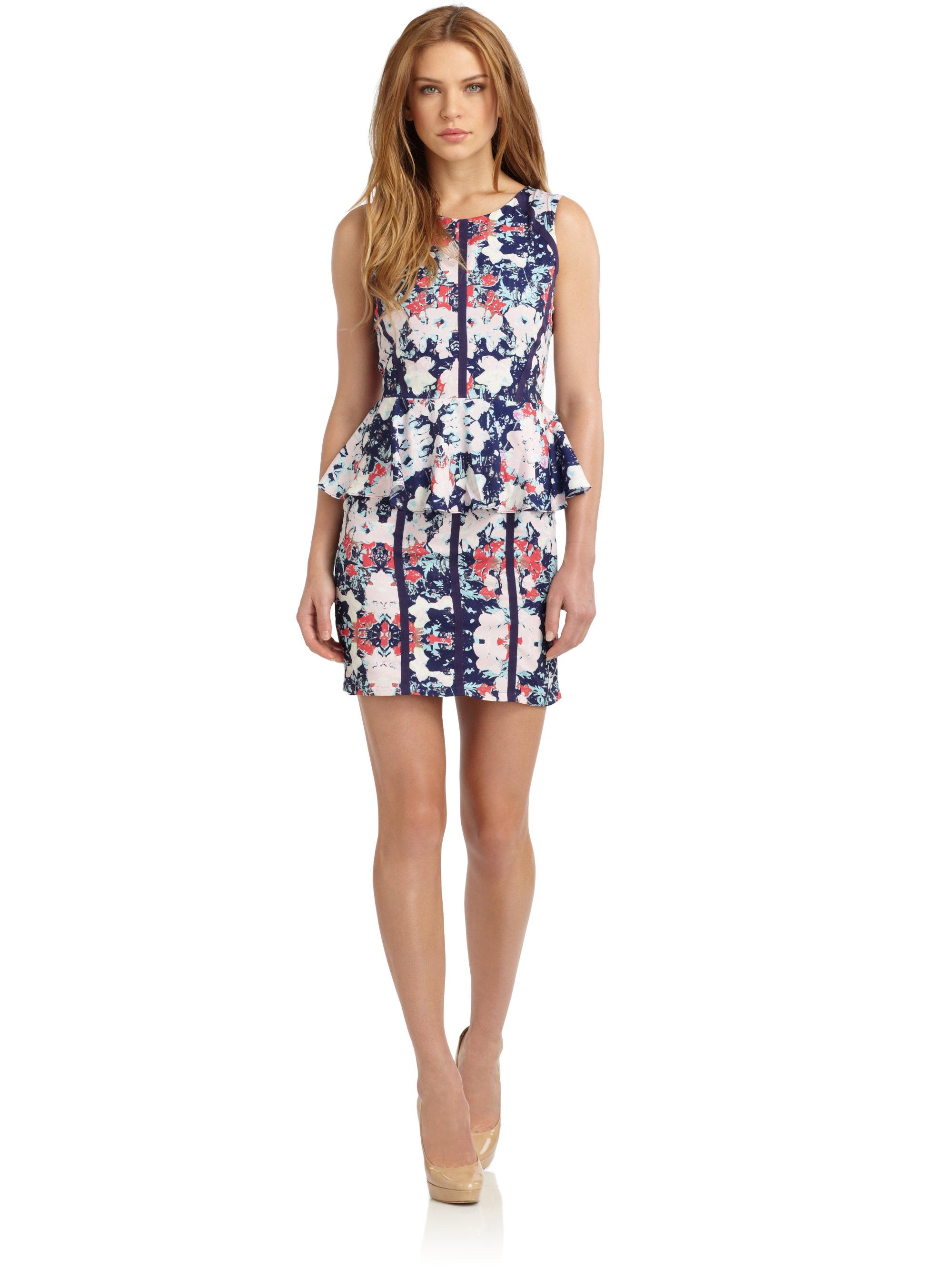 saks fifth avenue floralprint peplum dress lyst