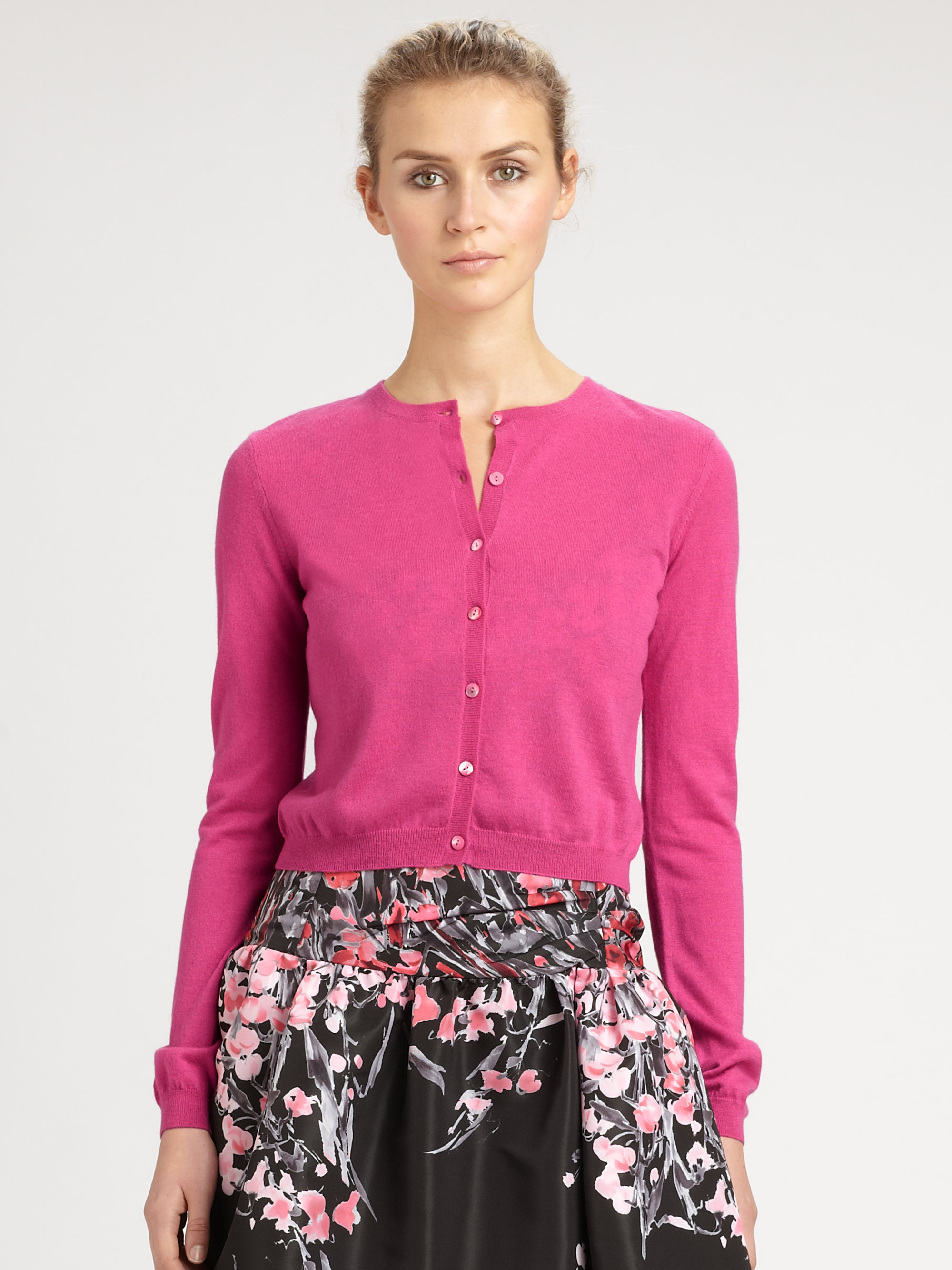 Red valentino Cropped Cashmere Cardigan in Pink | Lyst