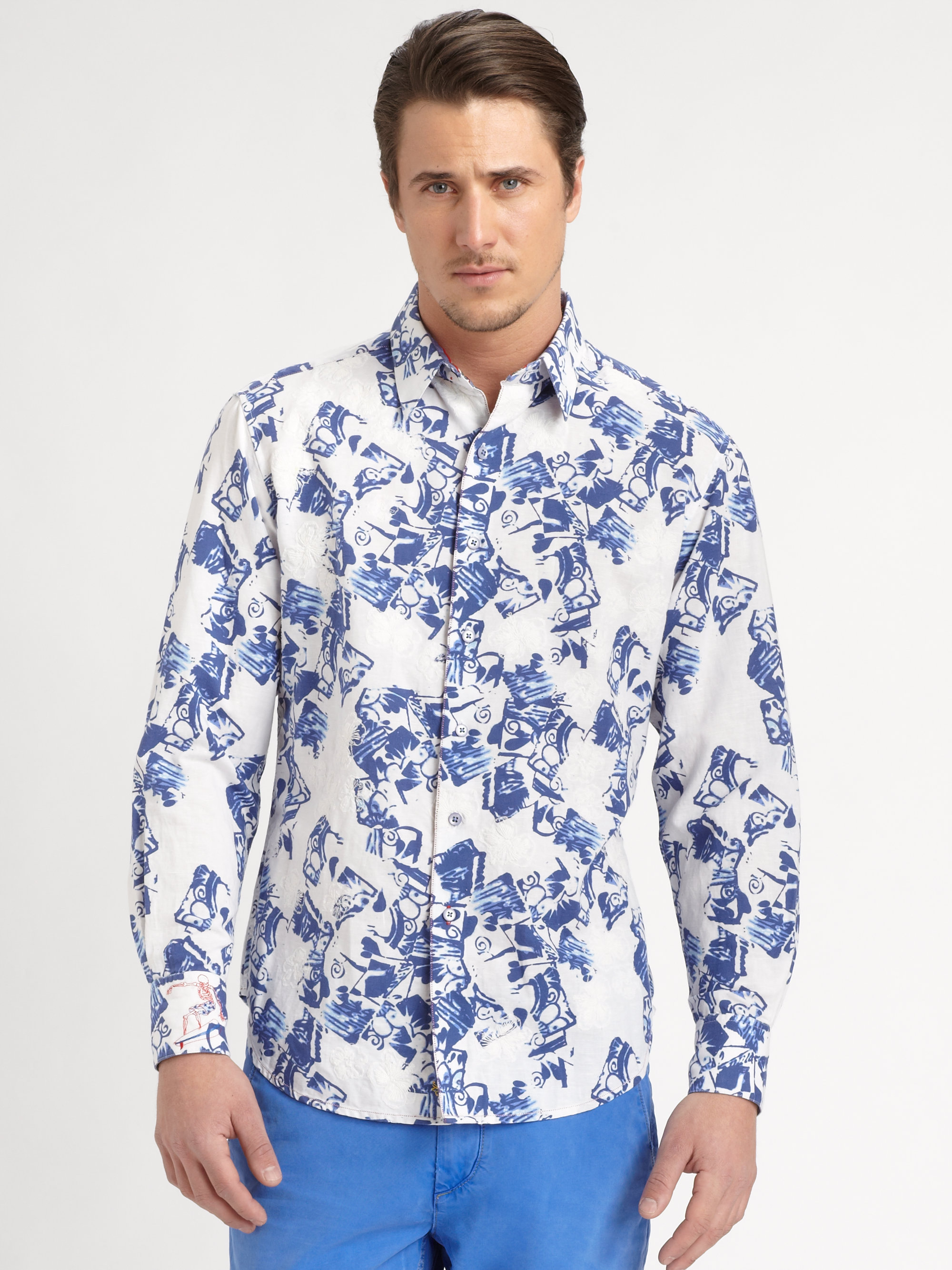 Robert graham sveti printed cotton shirt in blue for men for Robert graham tall shirts