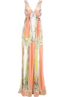 Roberto Cavalli Pleated Sleeveless Maxi Dress - Lyst