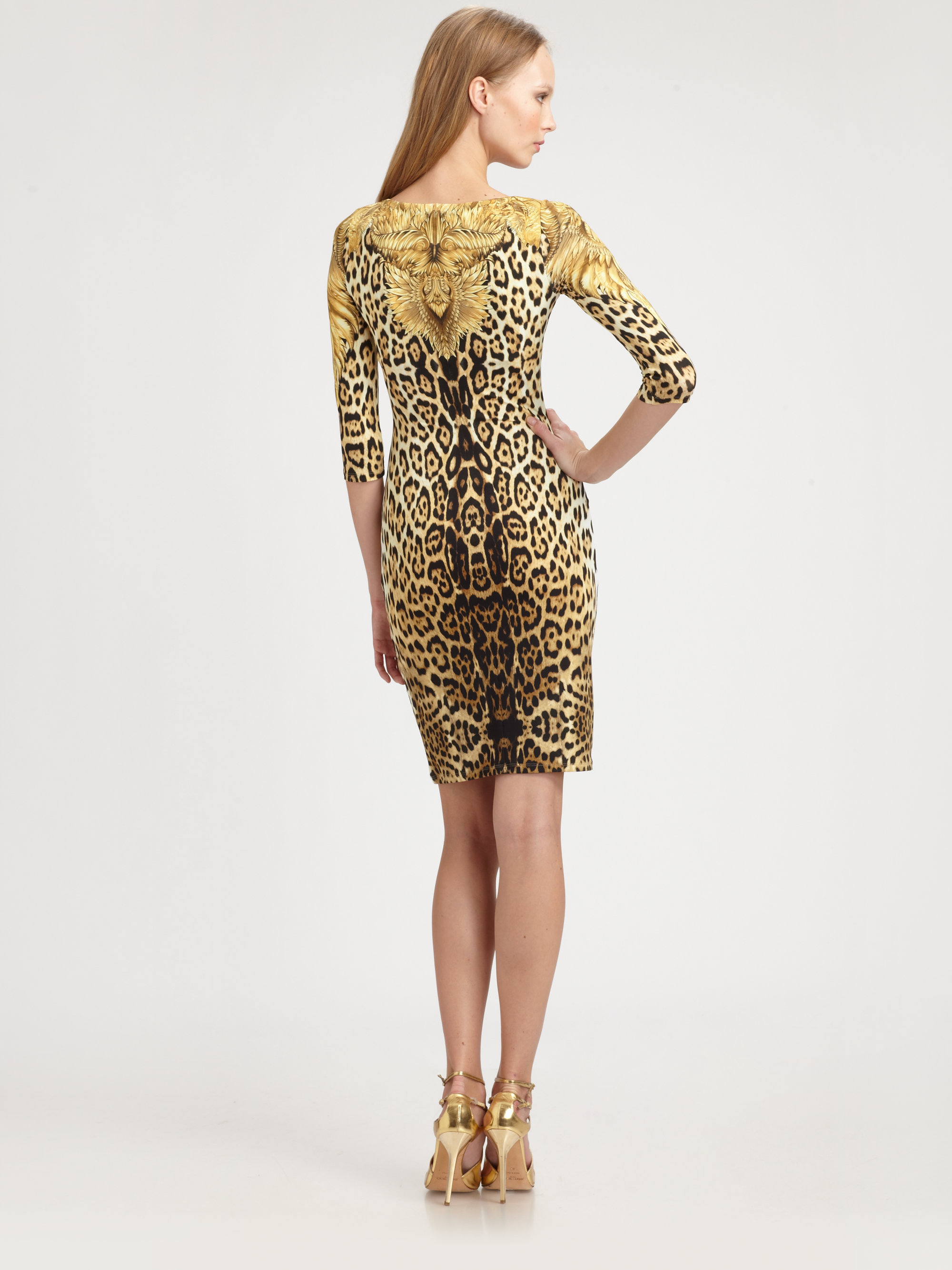fc1776b96e Lyst - Roberto Cavalli Leopard Print Dress in Brown