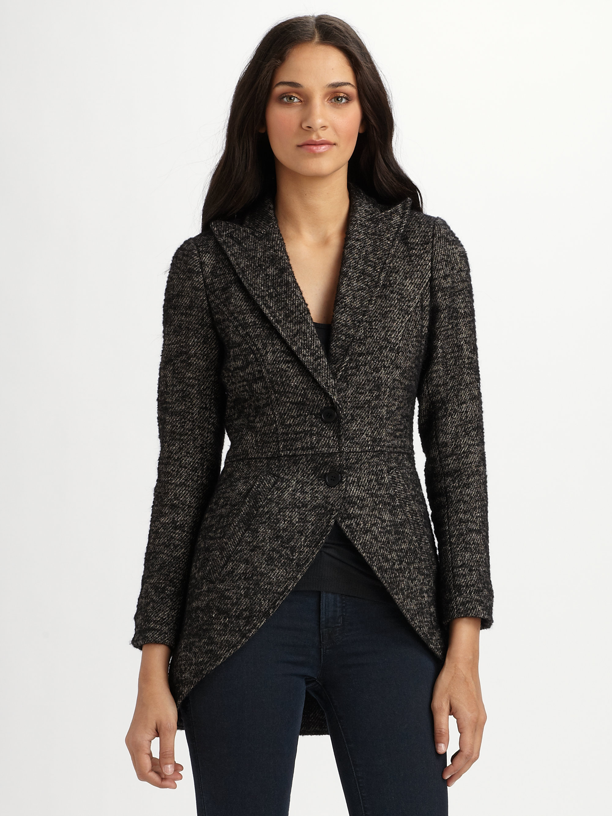 Smythe tweed riding jacket in gray black tweed lyst for Smythe designer