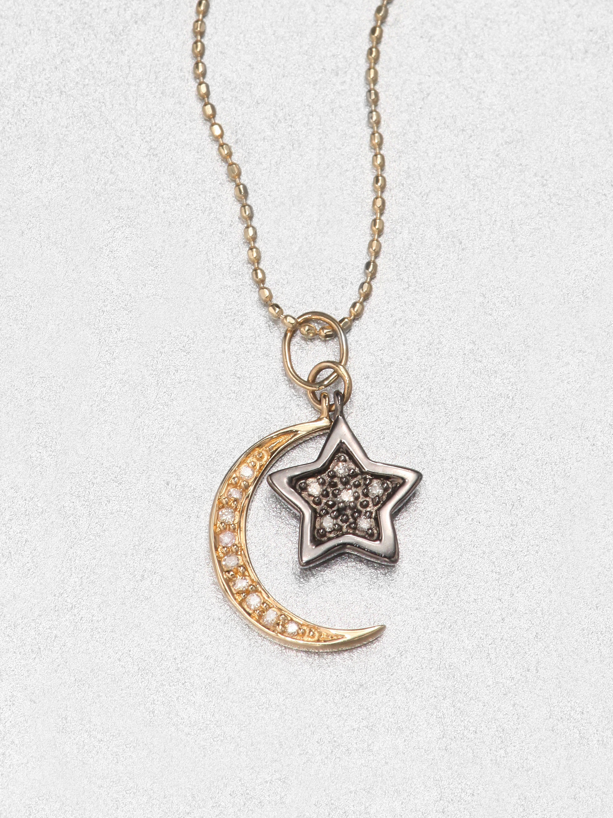 Sydney evan Diamond 14k Gold Star Moon Pendant Necklace in