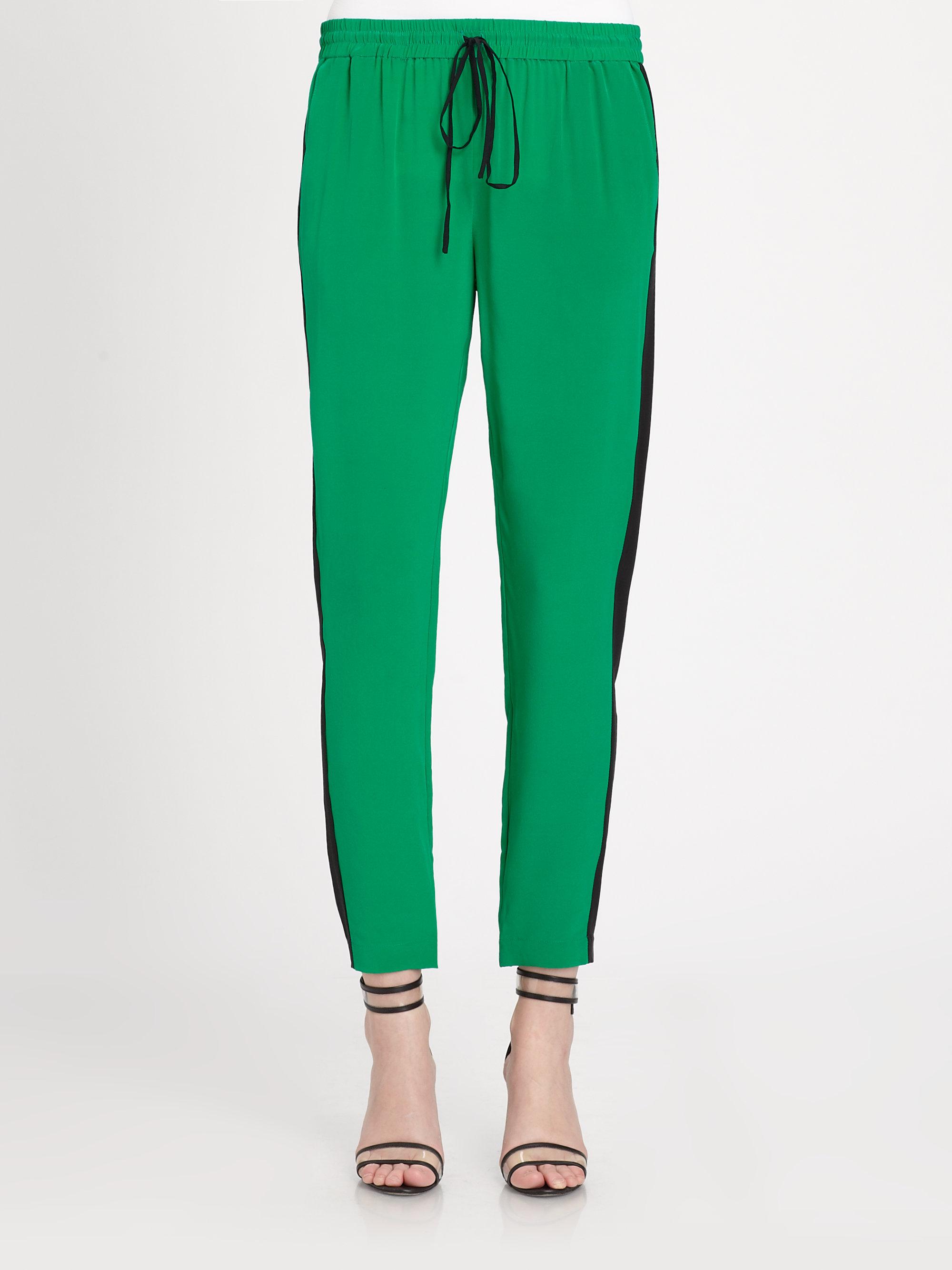 Tibi Silk Track Pants in Green | Lyst