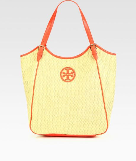 Tory Burch Slouchy Woven Raffia Tote in Red (poppy red)