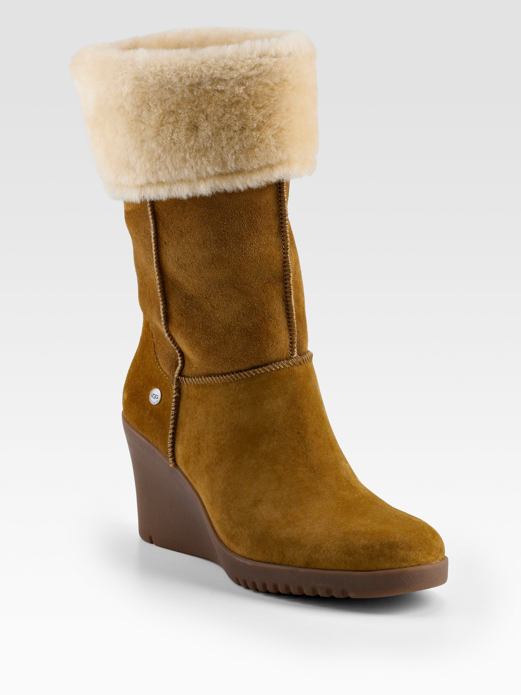 Lyst Ugg Shearling Cuff Suede Wedge Boots In Brown