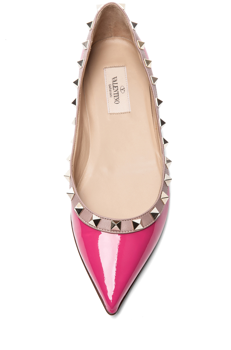 shoeniverse valentino rockstud ballerina flat in pink. Black Bedroom Furniture Sets. Home Design Ideas