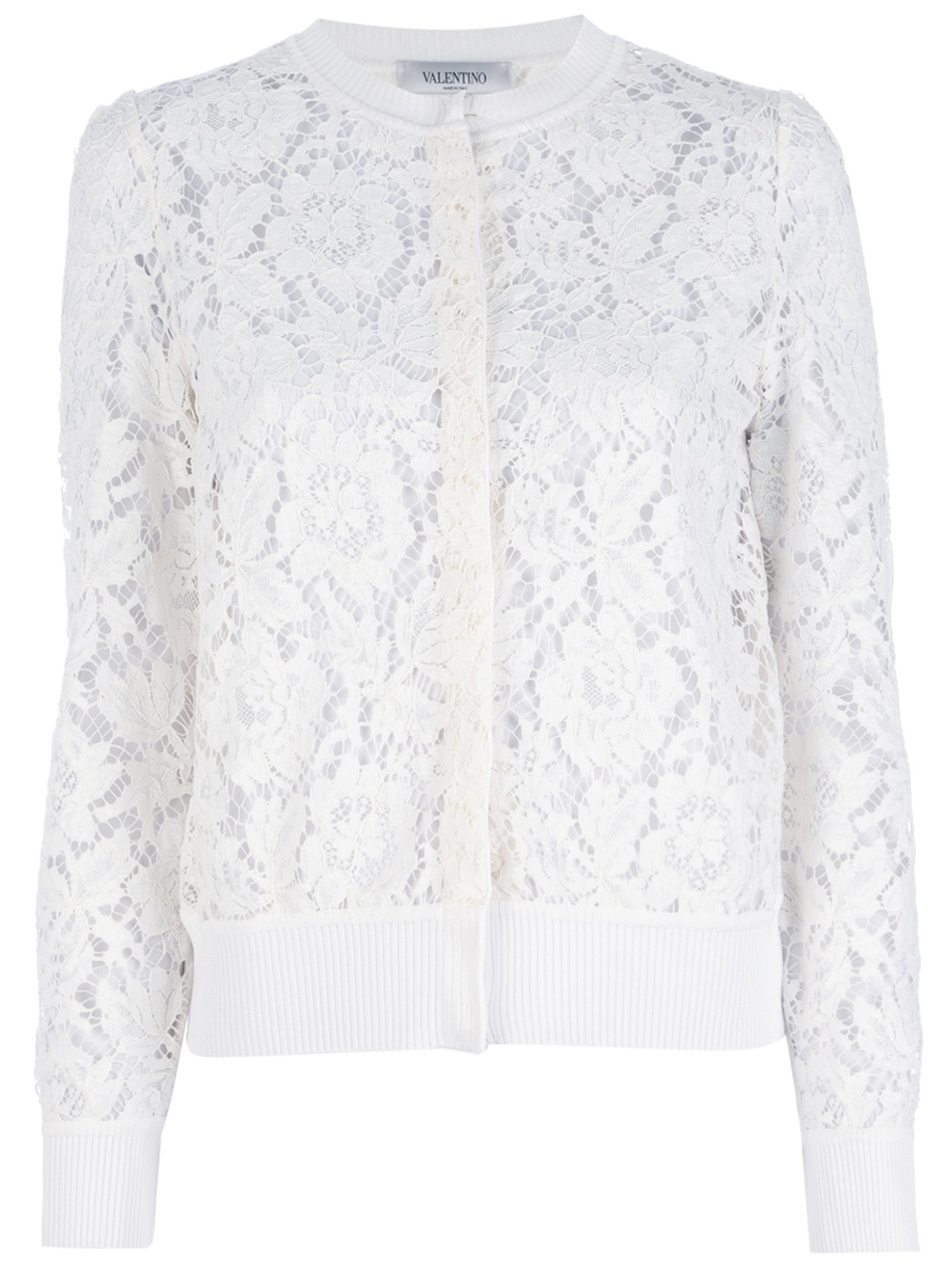 Valentino Lace Cardigan In White Lyst