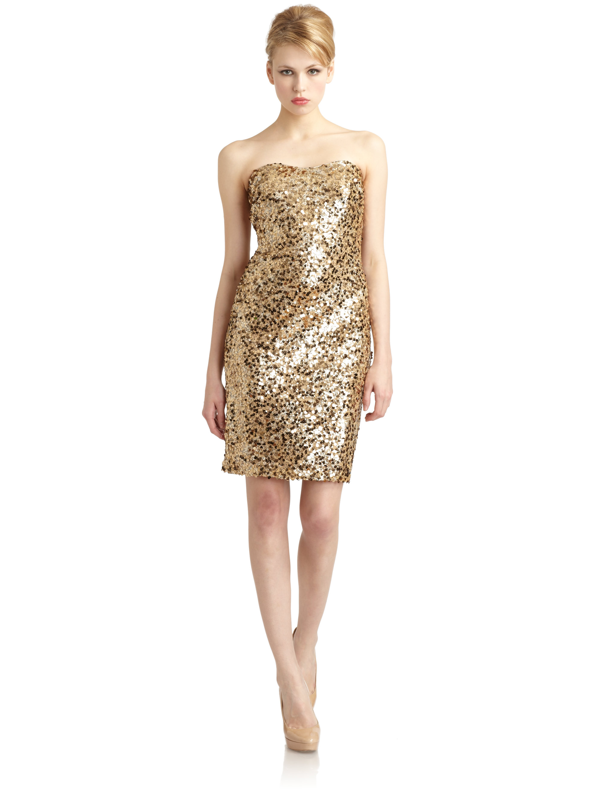 Gold Sequin Strapless Dress