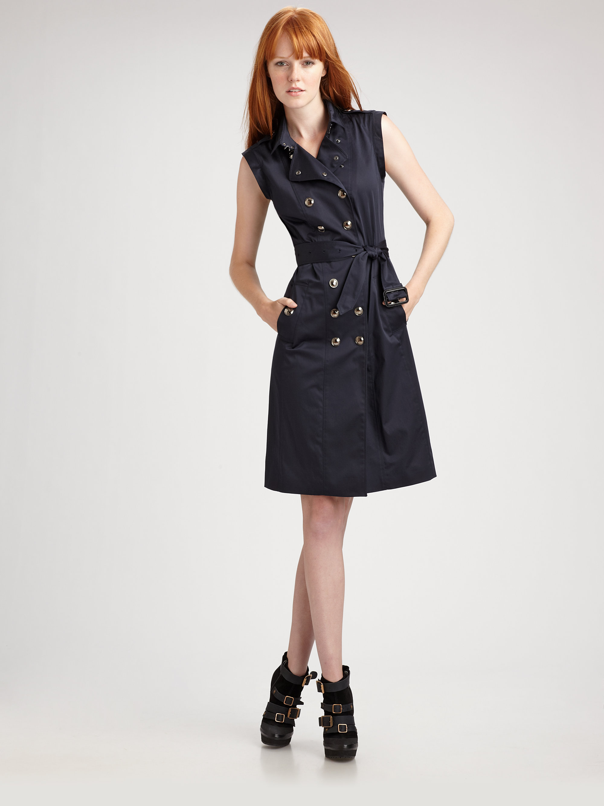 Lyst Burberry Cammie Double Breasted Trench Dress In Blue