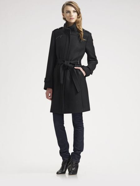 Cole Haan Belted Wool Coat In Black Lyst