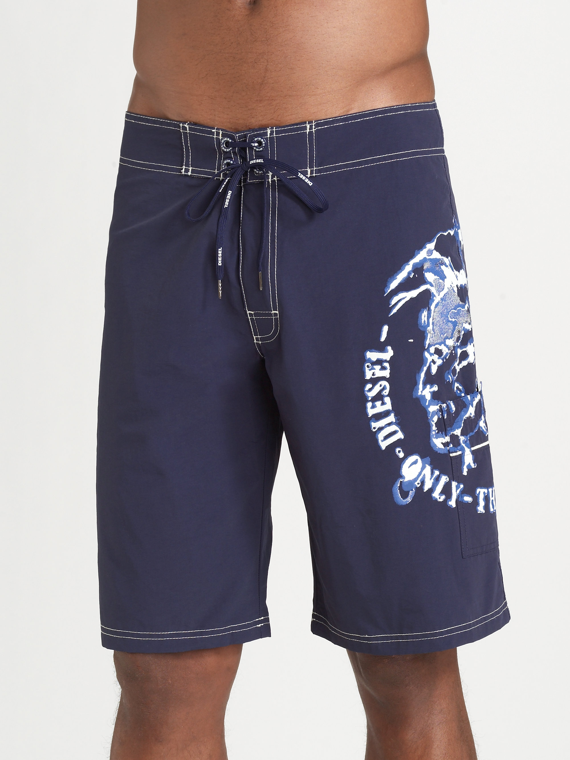Lyst Diesel Logo Board Shorts In Blue For Men