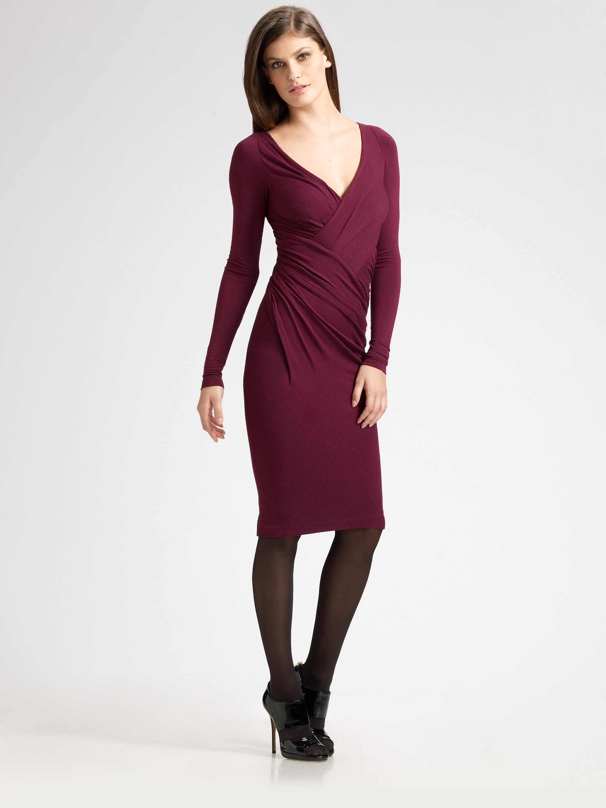Donna karan new york jersey vneck dress in purple plum for Donna karen new york