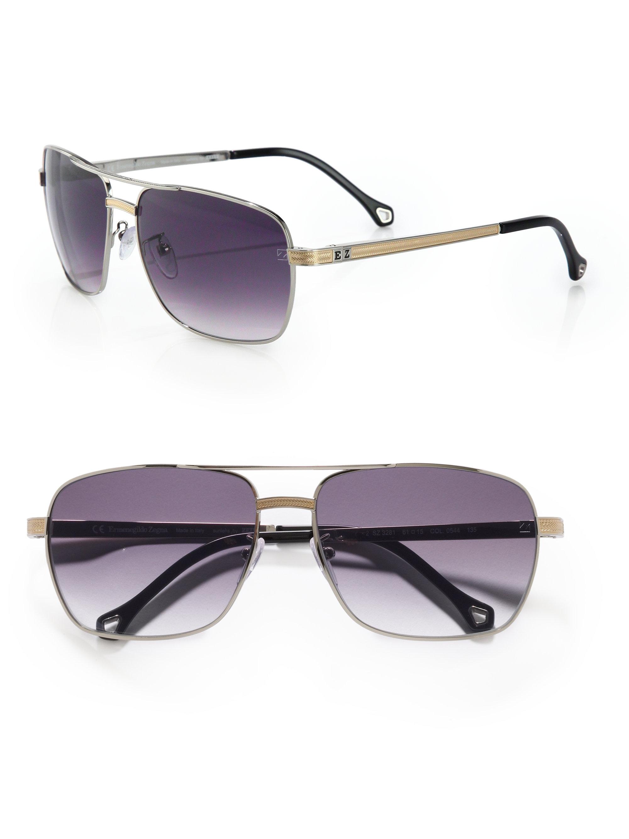 Ermenegildo zegna Metal Navigator Sunglasses in Blue for Men  85e3323279f