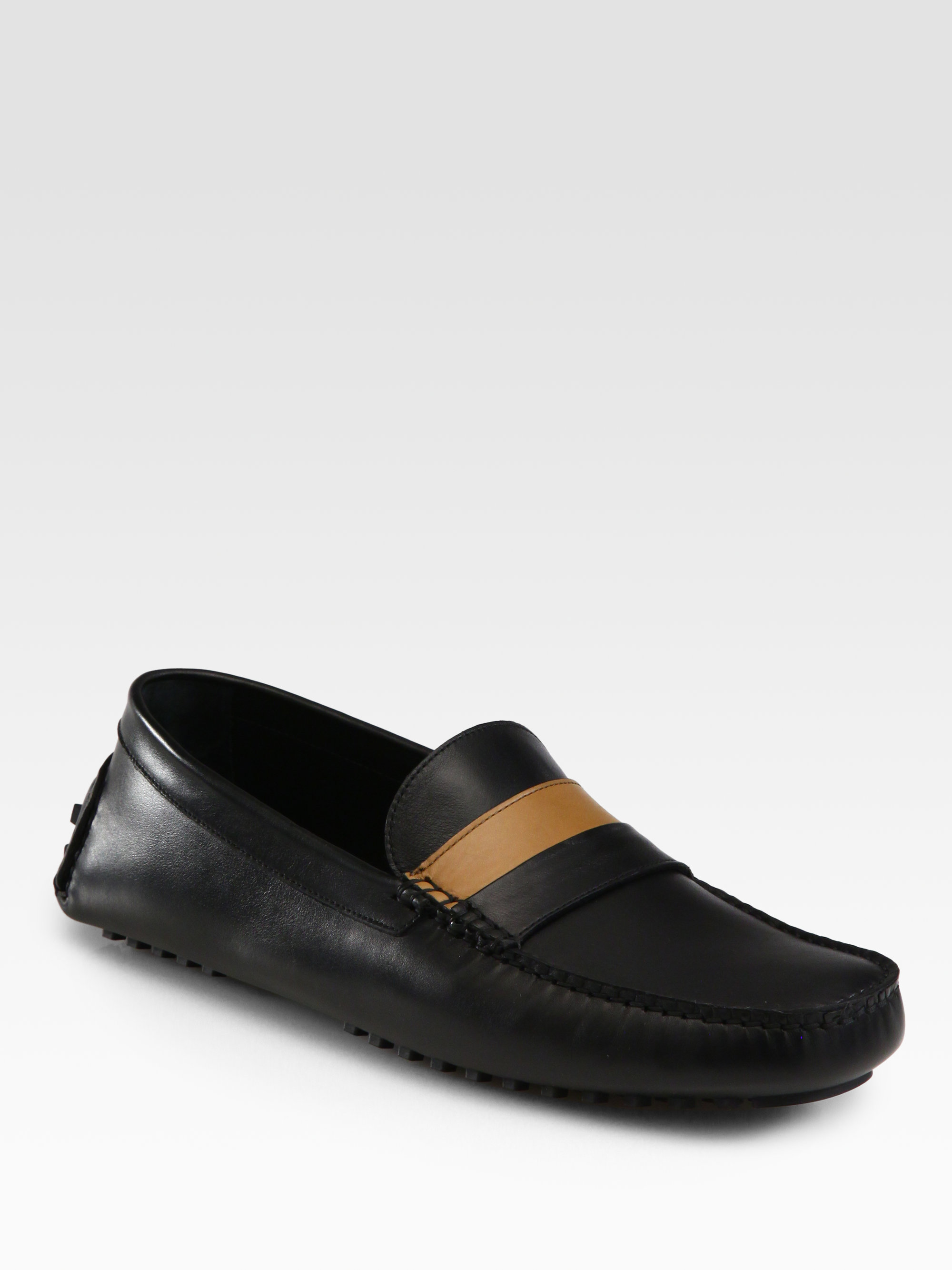 Black Leather Lace Up Moccasin Shoes