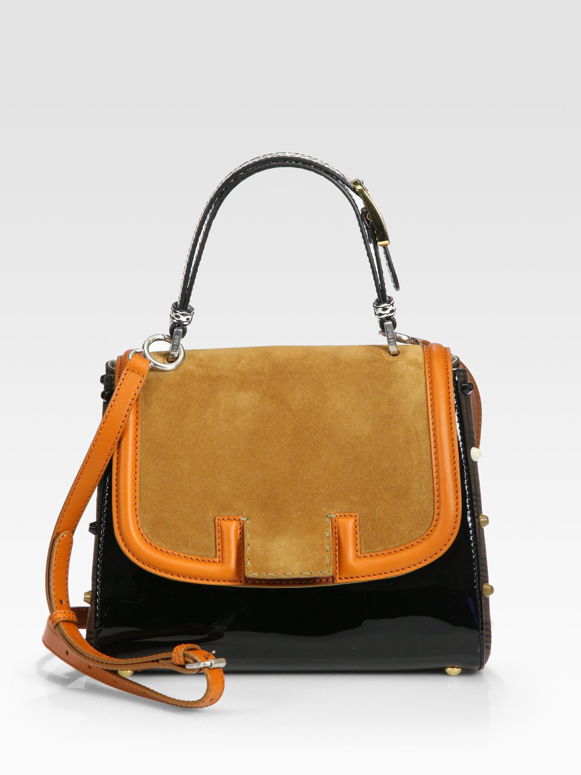 17e06e26bfb1 ... australia lyst fendi silvana suede patent leather python bag in orange  7b898 249b2