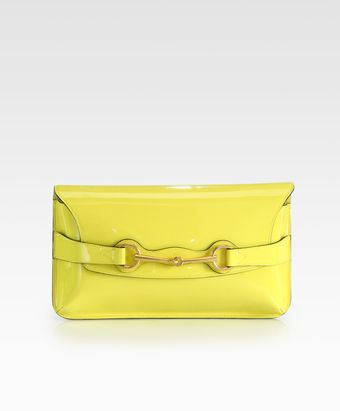 Gucci Bright Bit Patent Leather Clutch - Lyst