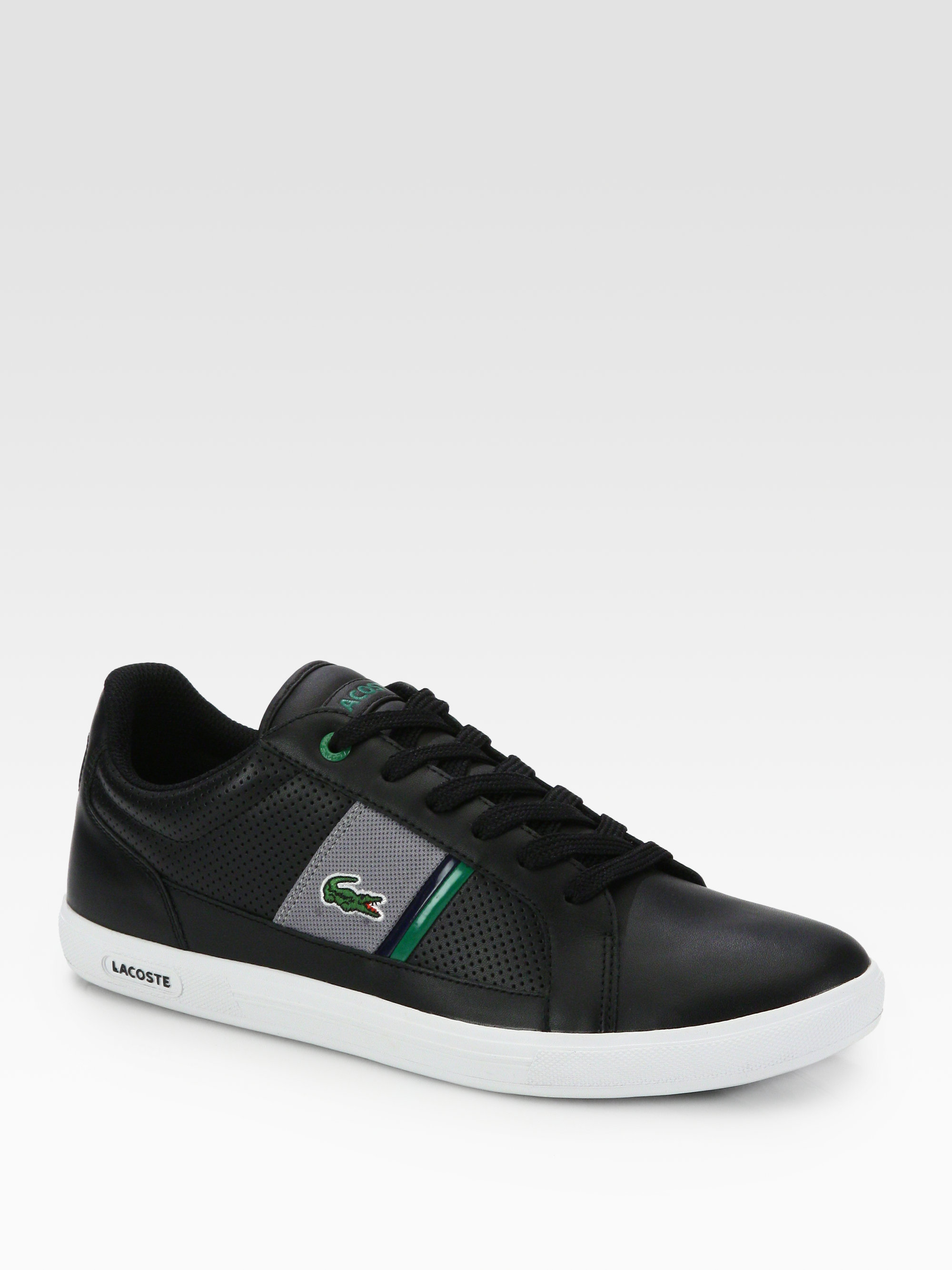 ef21fd57c Lyst - Lacoste Leather Sneakers in Black for Men
