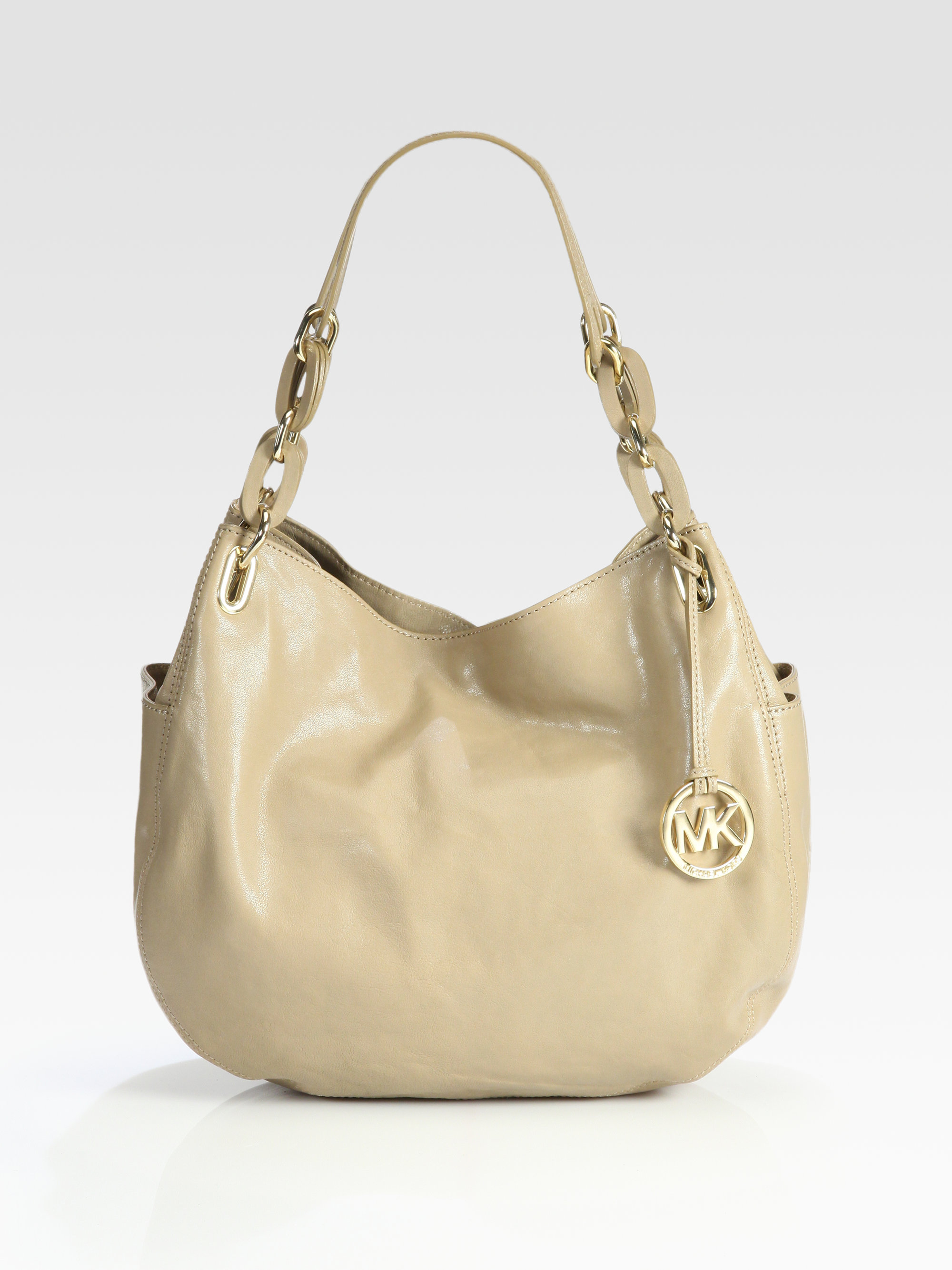 4d2cdfbee25d MICHAEL Michael Kors Lilly Medium Leather Shoulder Bag in Natural - Lyst