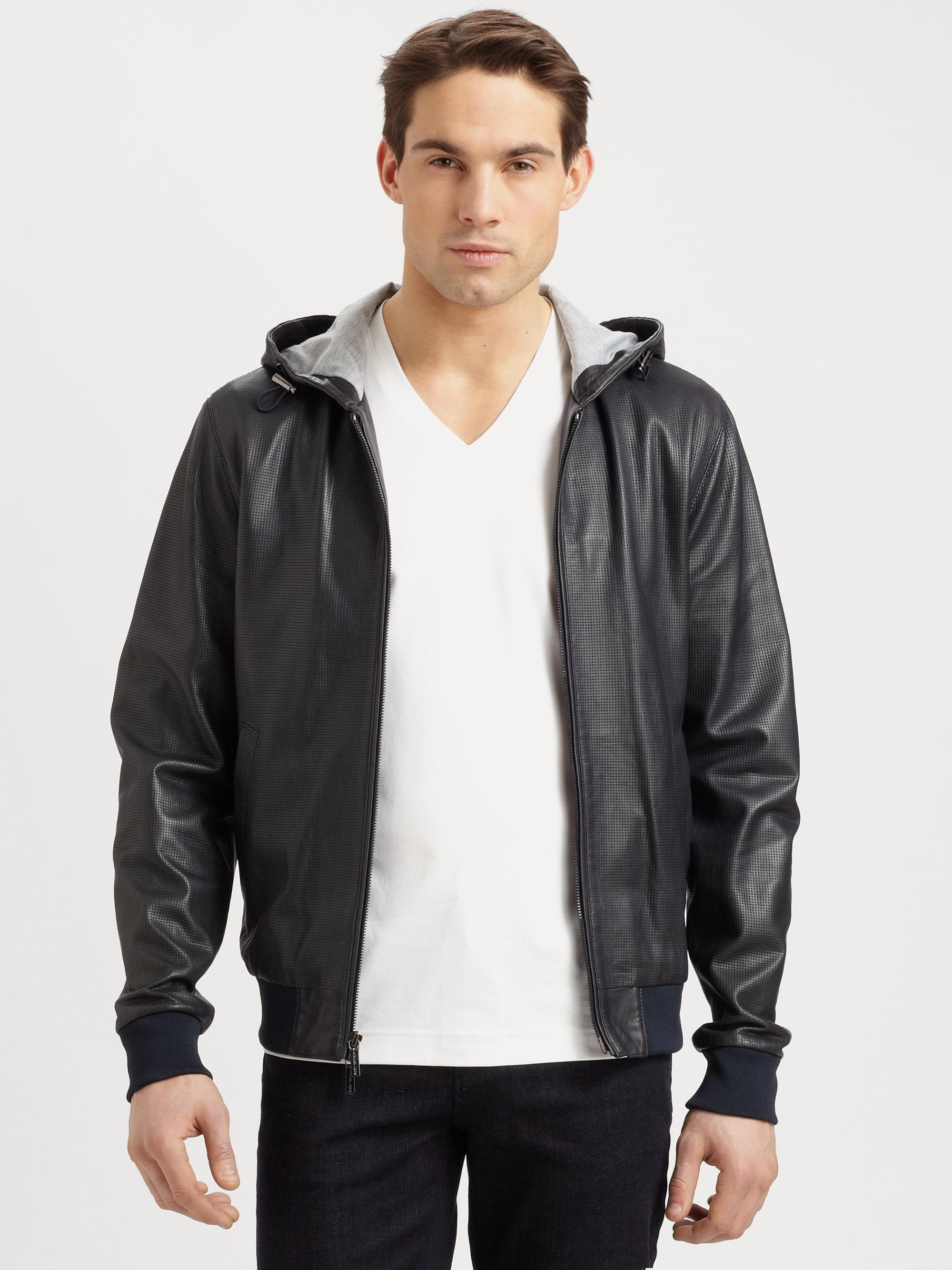 Leather hoodie men