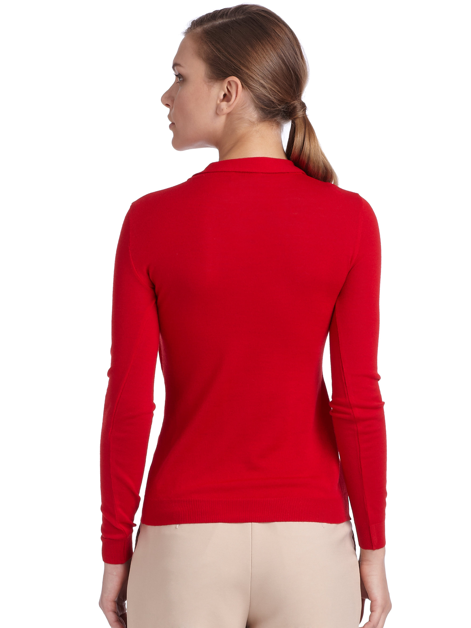 Boutique moschino Wool Draped Tie Neck Sweater in Red | Lyst