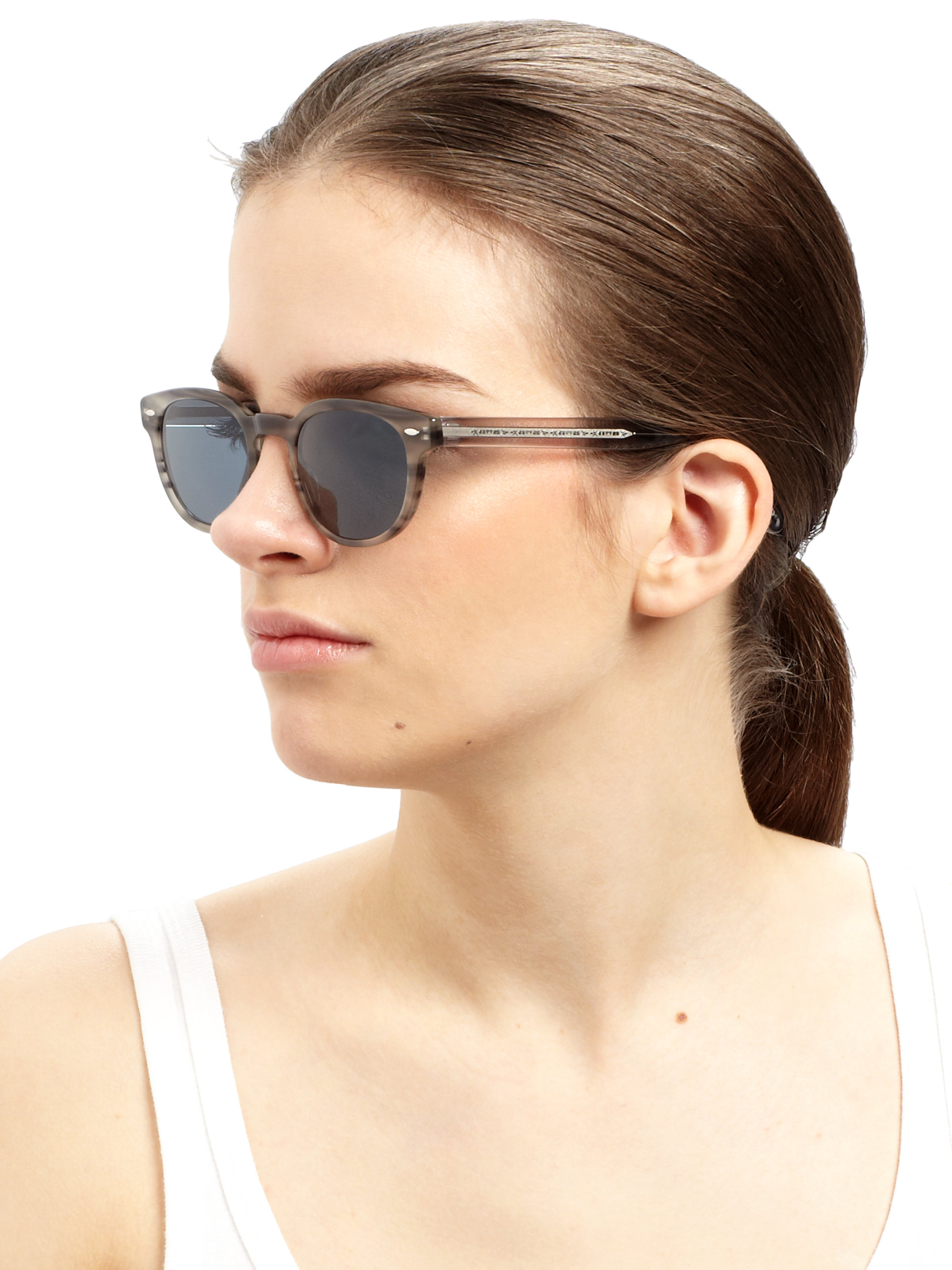 a0bd89e485 Oliver Peoples Sheldrake Oval Sunglasses in Gray - Lyst