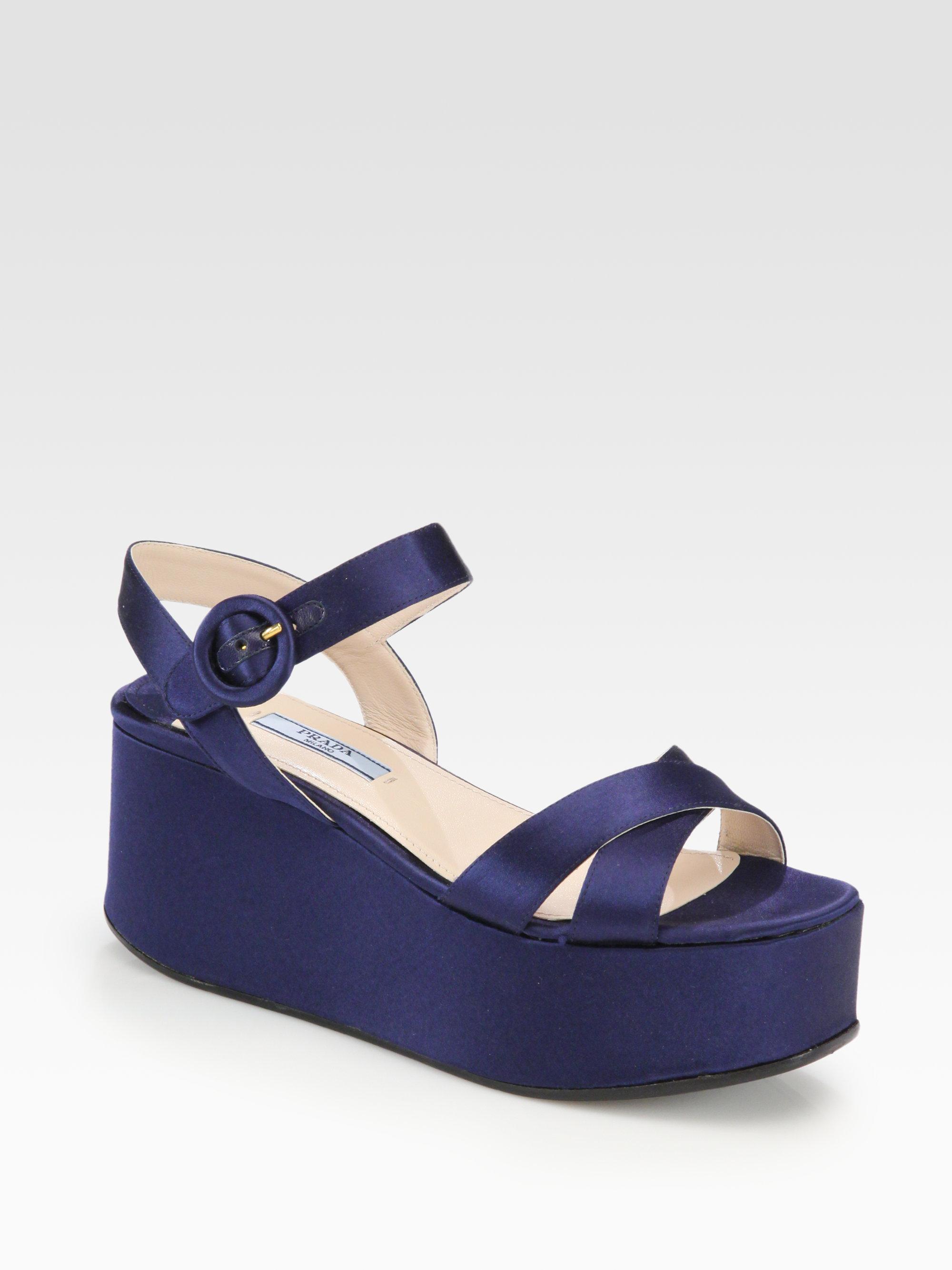 a8d784ce4cb Lyst - Prada Satin Platform Wedge Sandals in Blue