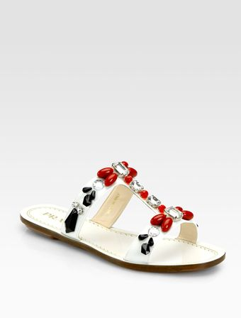 Prada Jeweled Saffiano Patent Leather Tstrap Sandals - Lyst