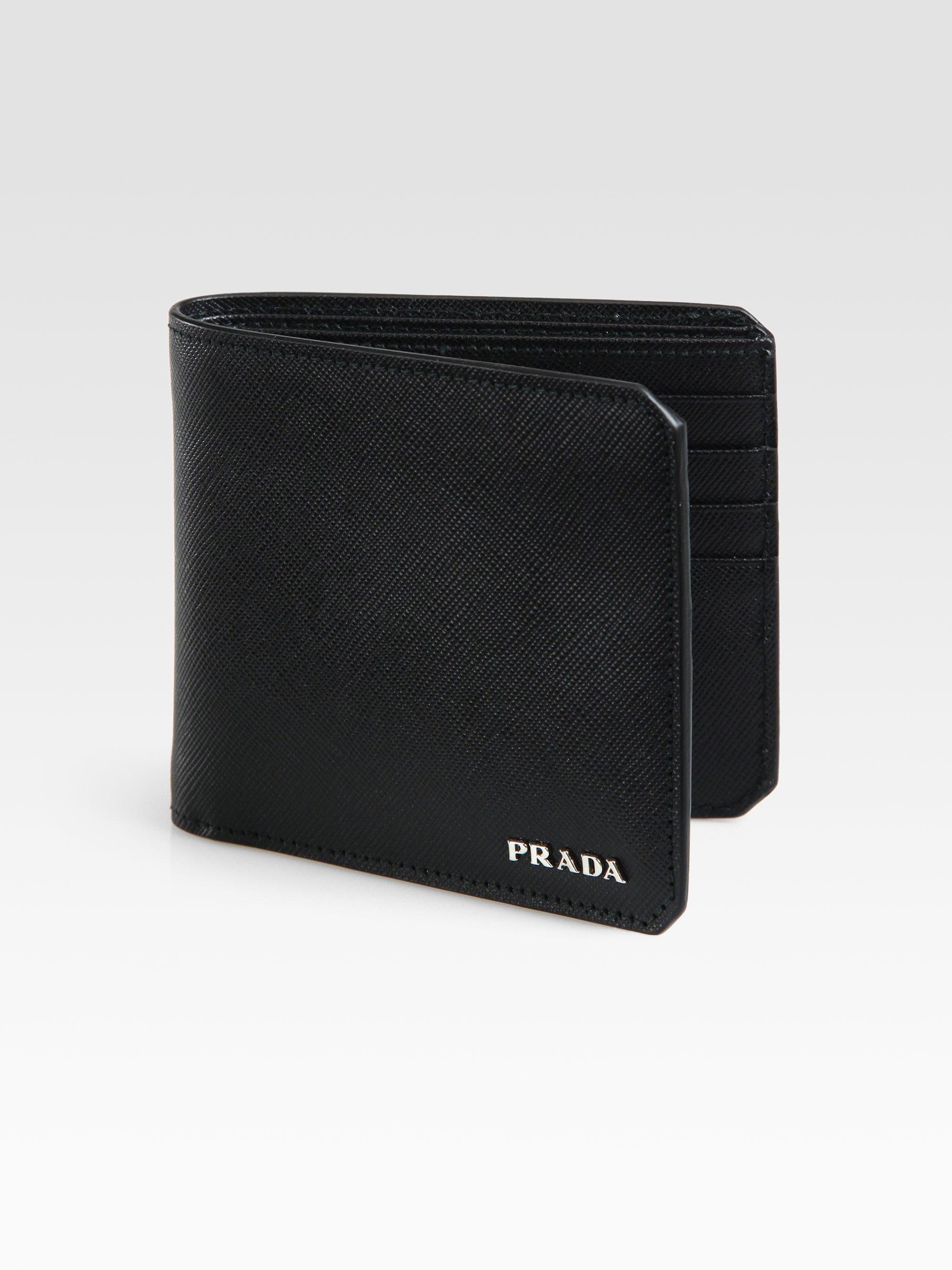 Prada Saffiano Leather Wallet in Black for Men | Lyst