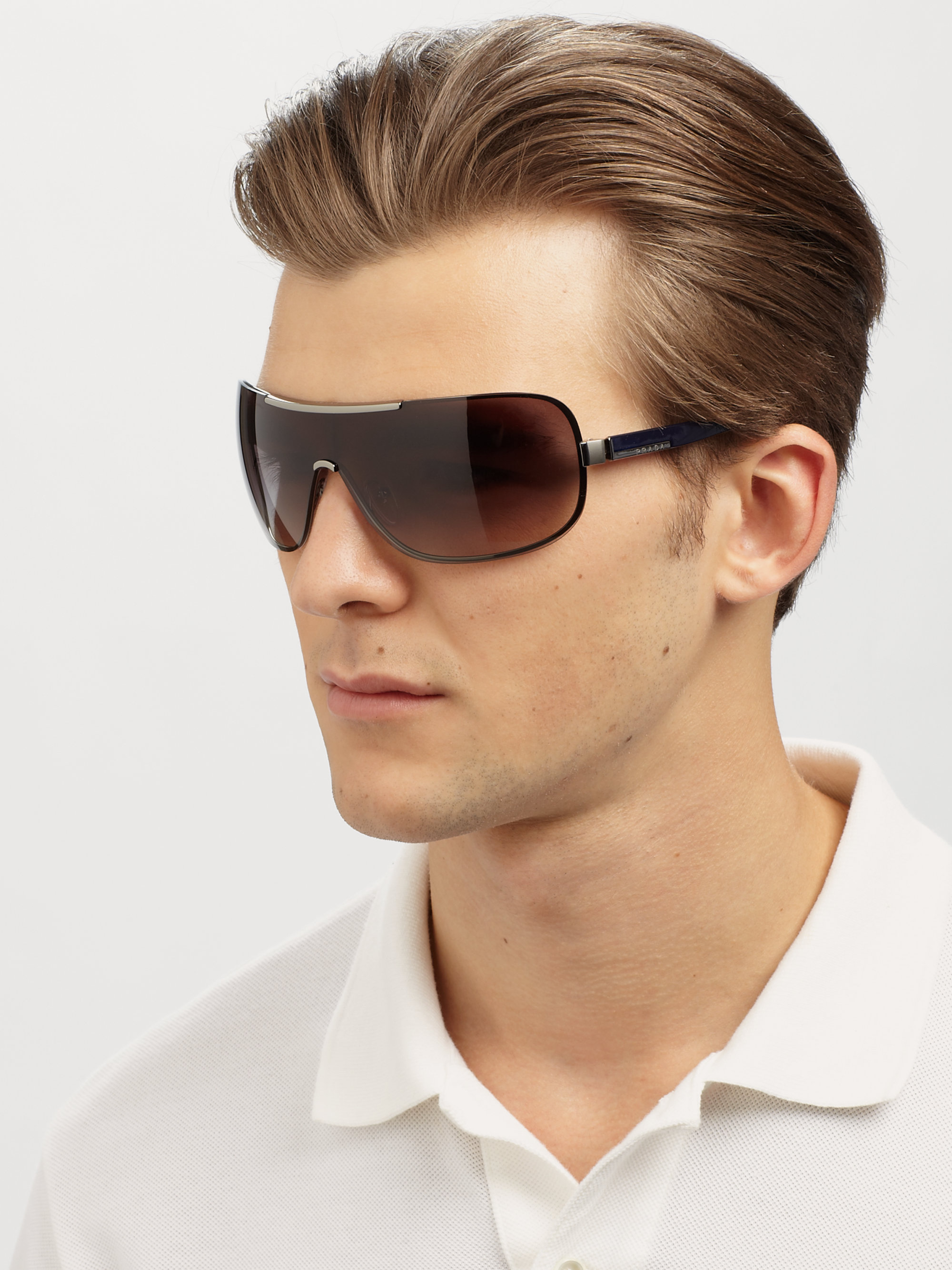 Oversized Wayfarer Sunglasses Men  prada oversized metal shield sunglasses in gray for men lyst