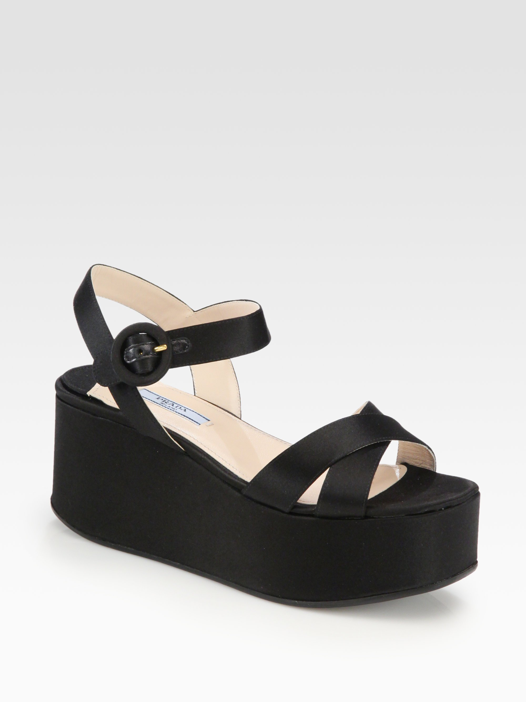 3dca8273e52 Lyst - Prada Satin Platform Wedge Sandals in Black