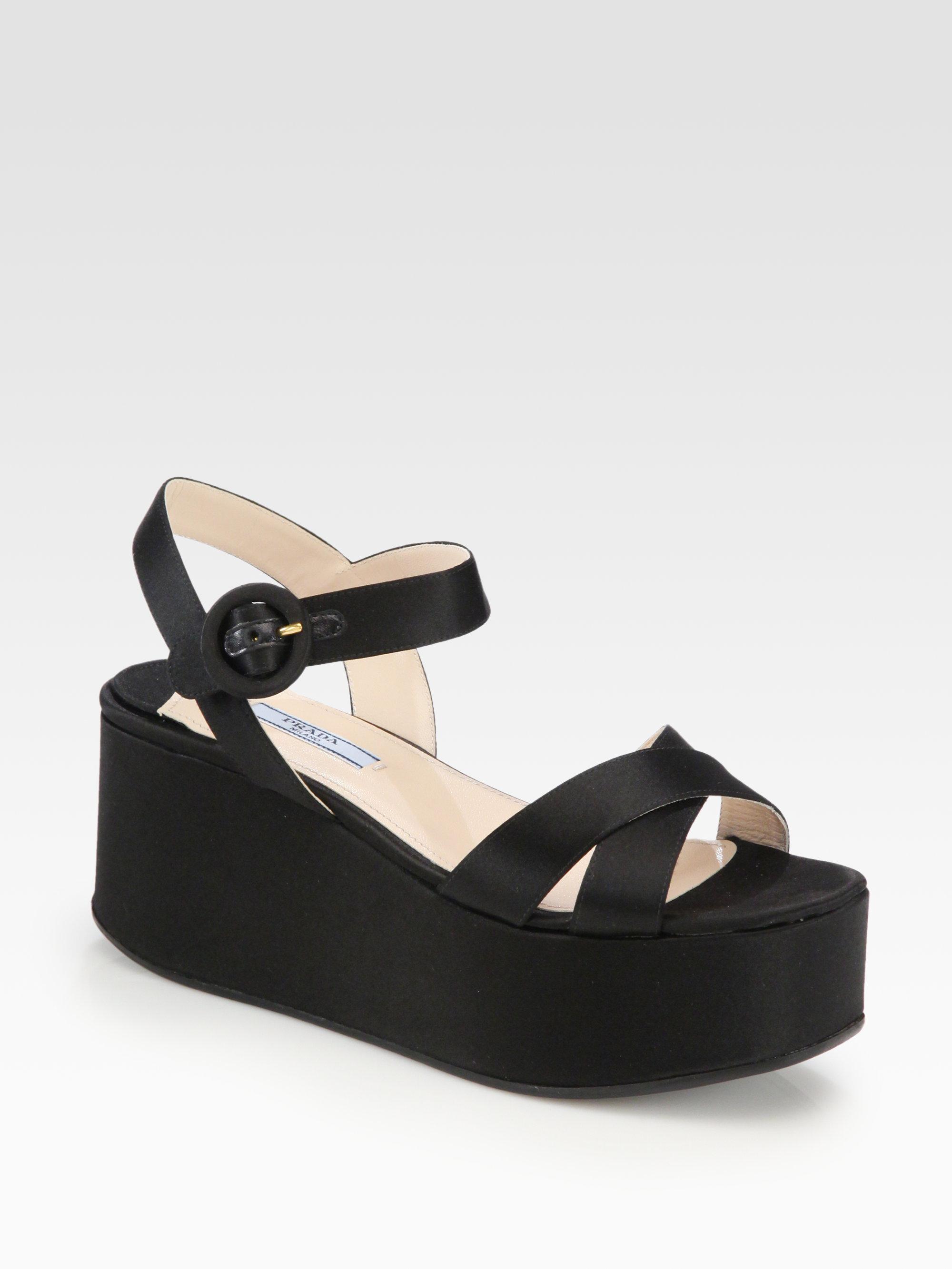 prada satin platform wedge sandals in black nero black