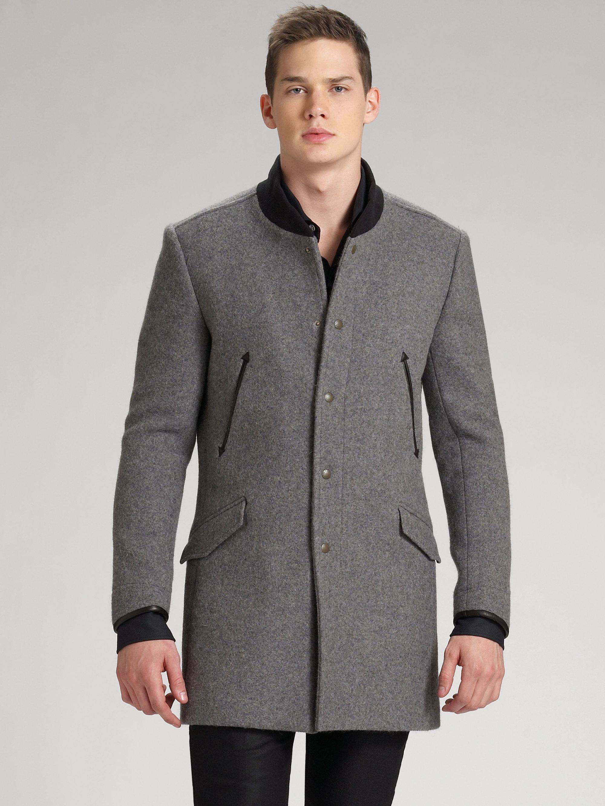 Lyst Rag Amp Bone Port Coat In Gray For Men