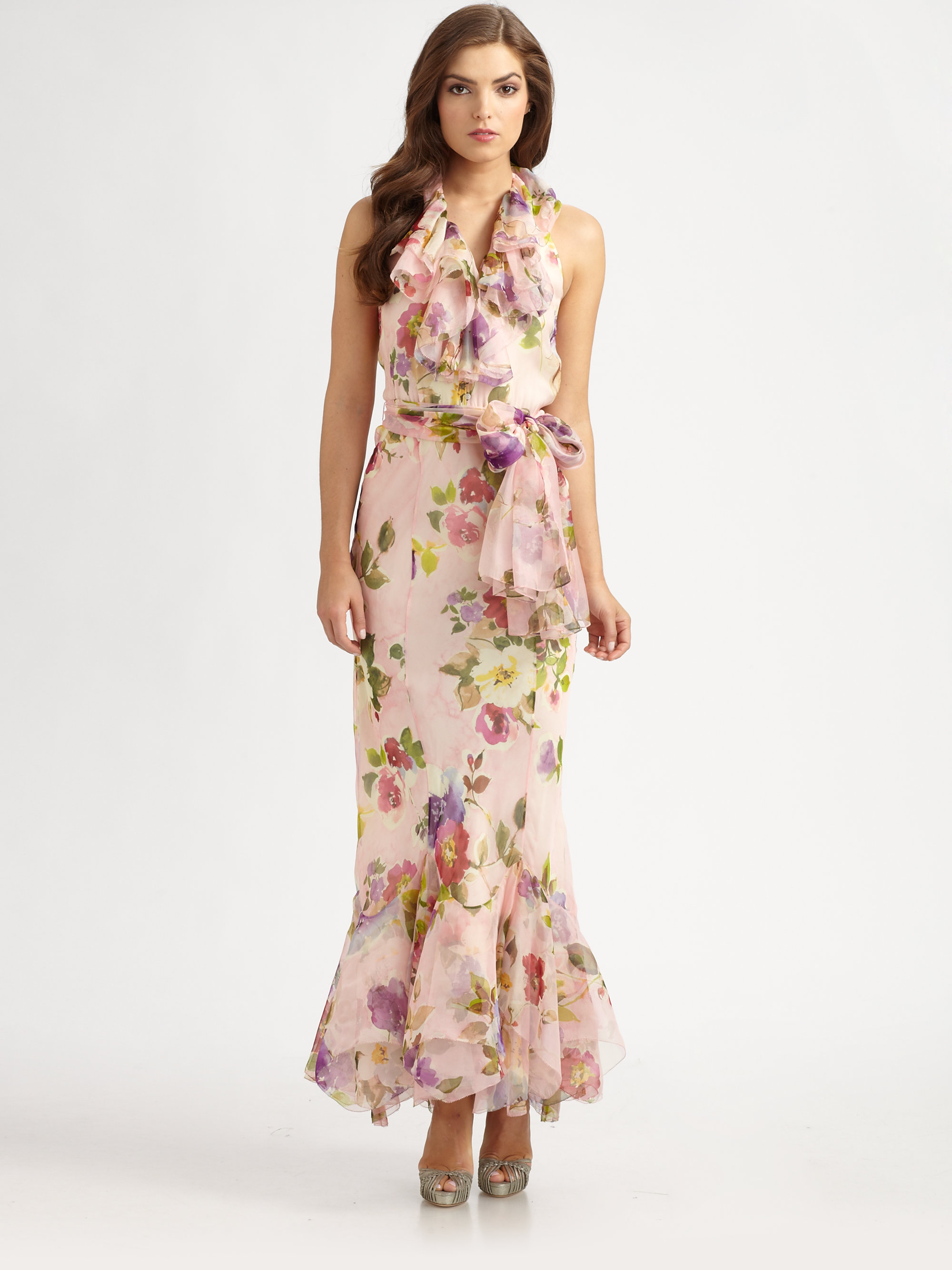 lyst  ralph lauren blue label floral silk organza dress