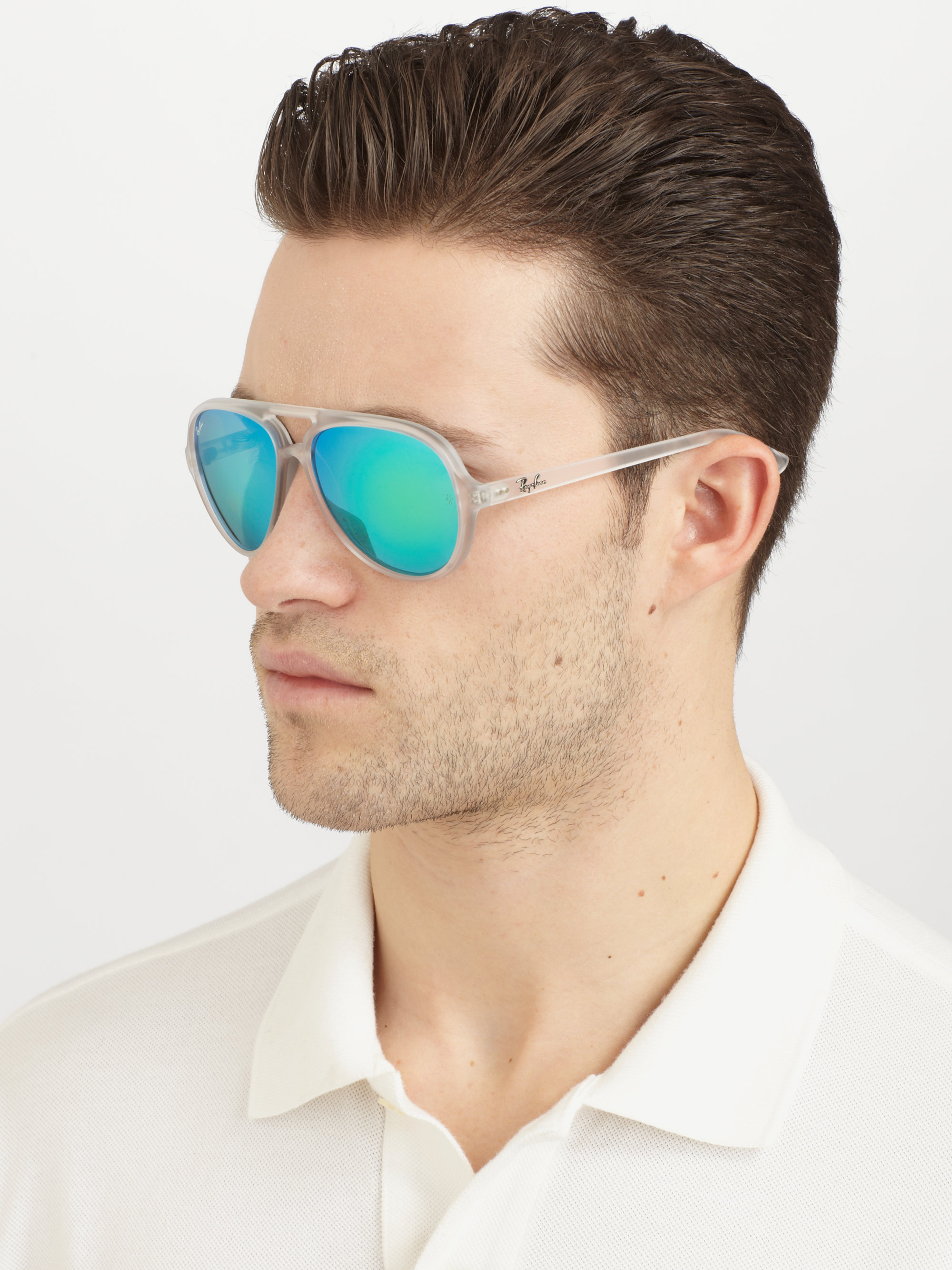 Ray Ban Double Bridge Aviator Sunglasses In Blue For Men