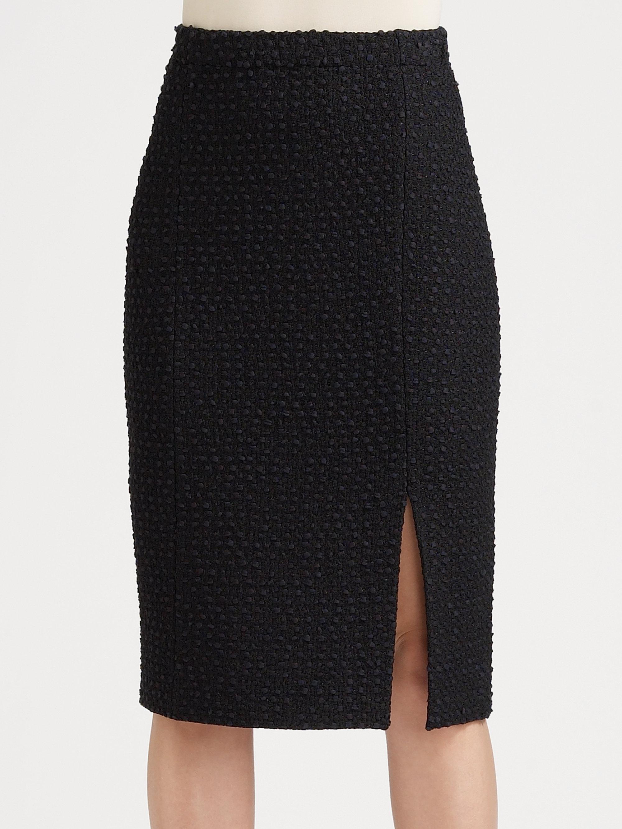 St. John Textured Knit Pencil Skirt in Black (caviar) | Lyst