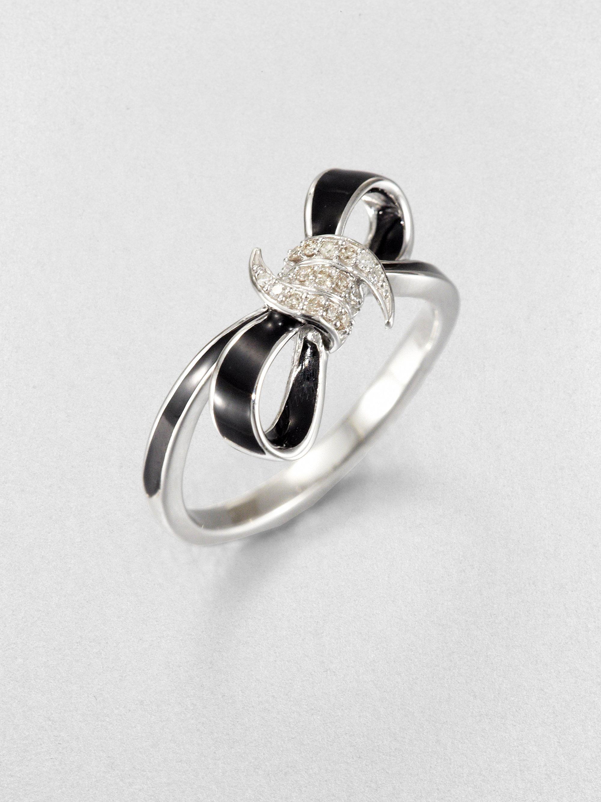 Stephen webster Enamel Diamond Barb Bow Ring in Metallic