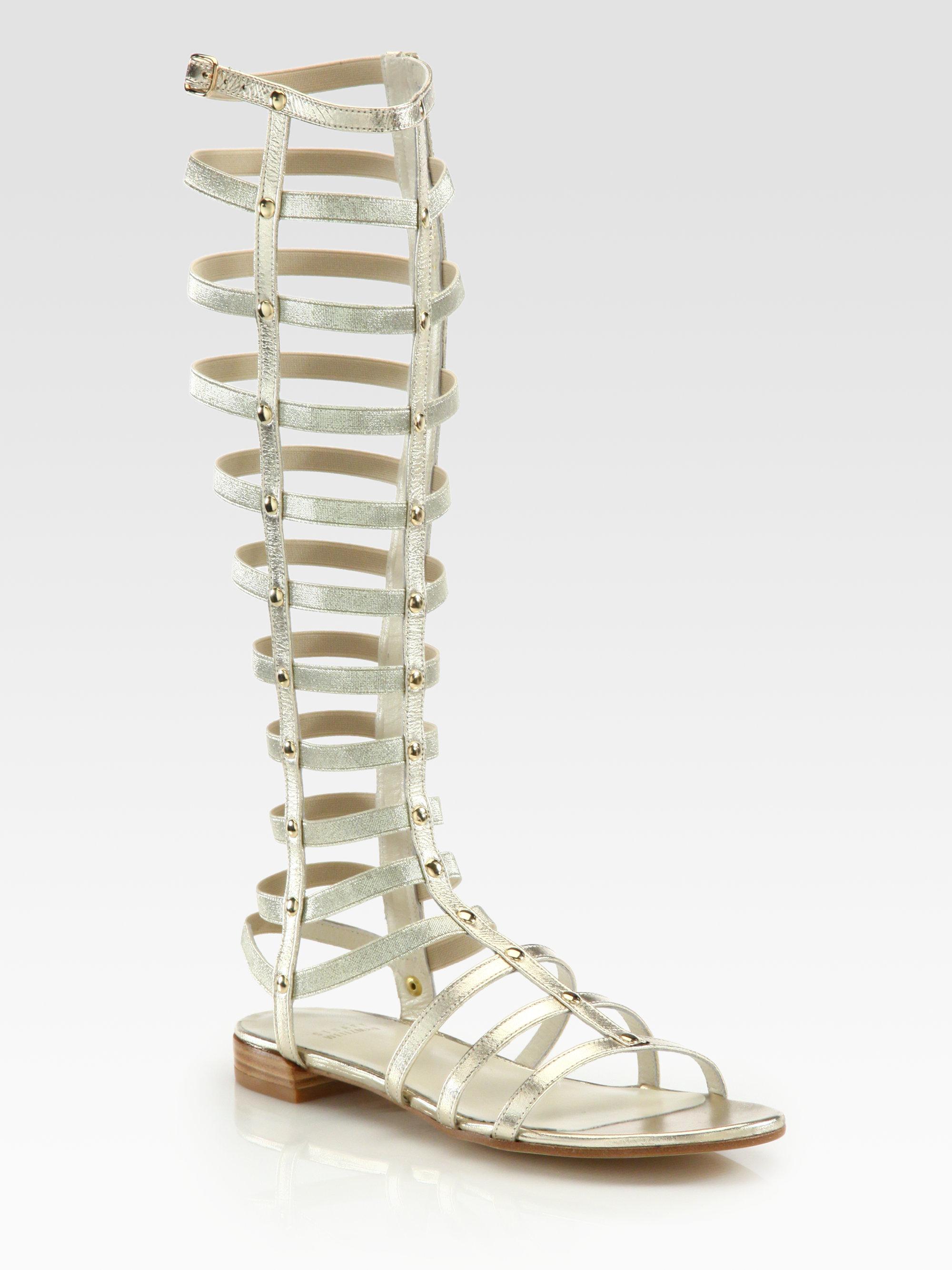 Stuart Weitzman Tall Gladiator Metallic Leather Sandals In