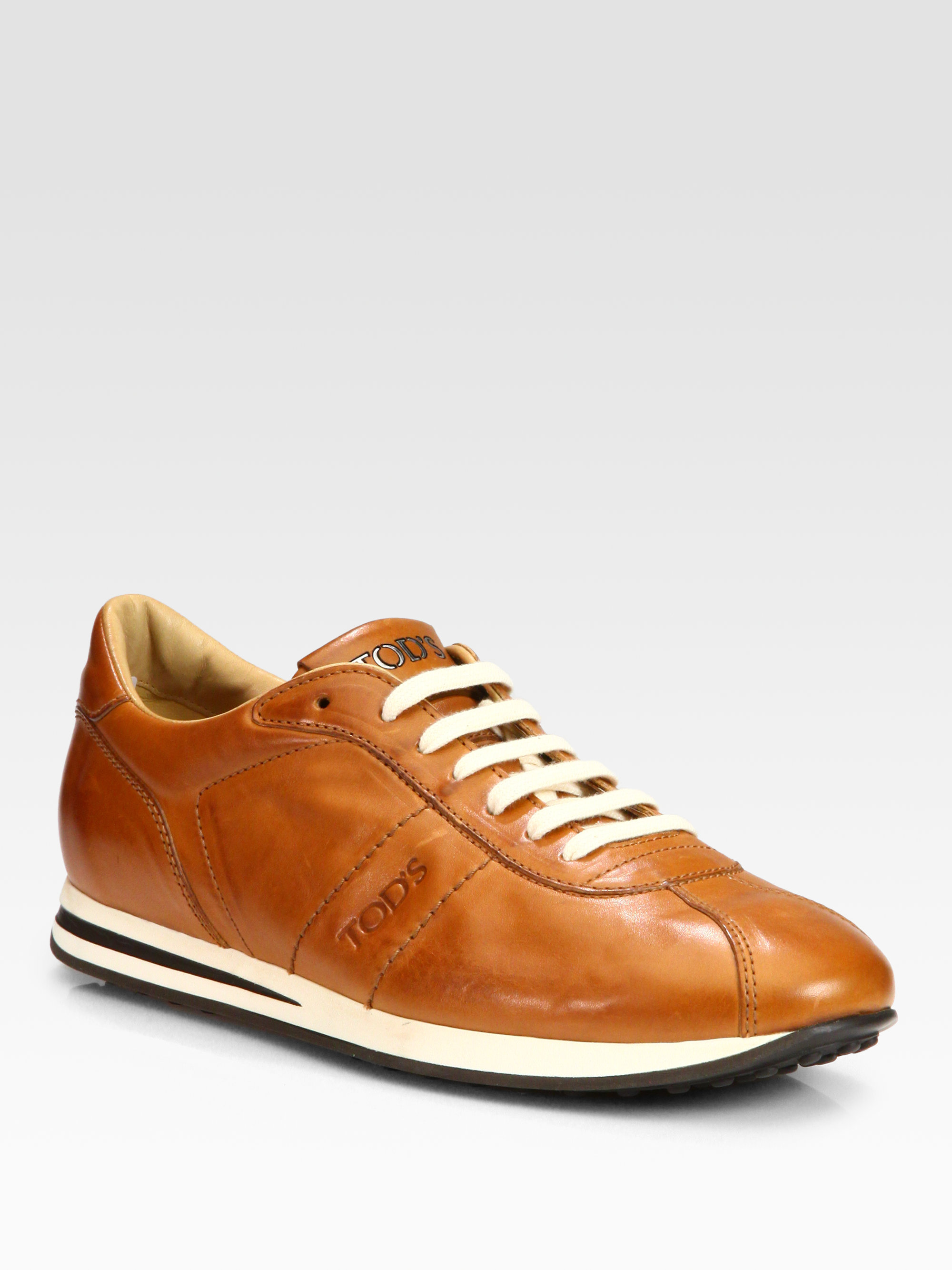 Tod's Leather Sport Laceup Sneakers in Brown for Men